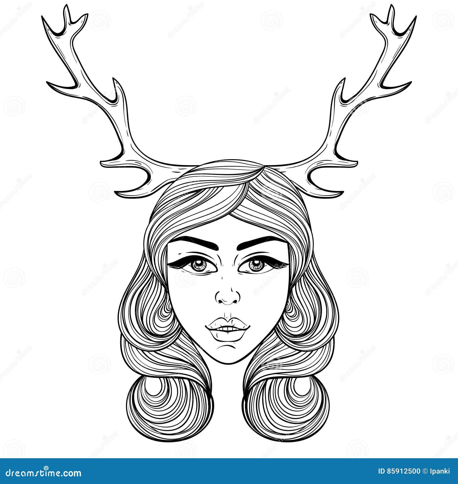 Beautiful Girl With Deers Horns Like Shaman Vector Ornate Boh