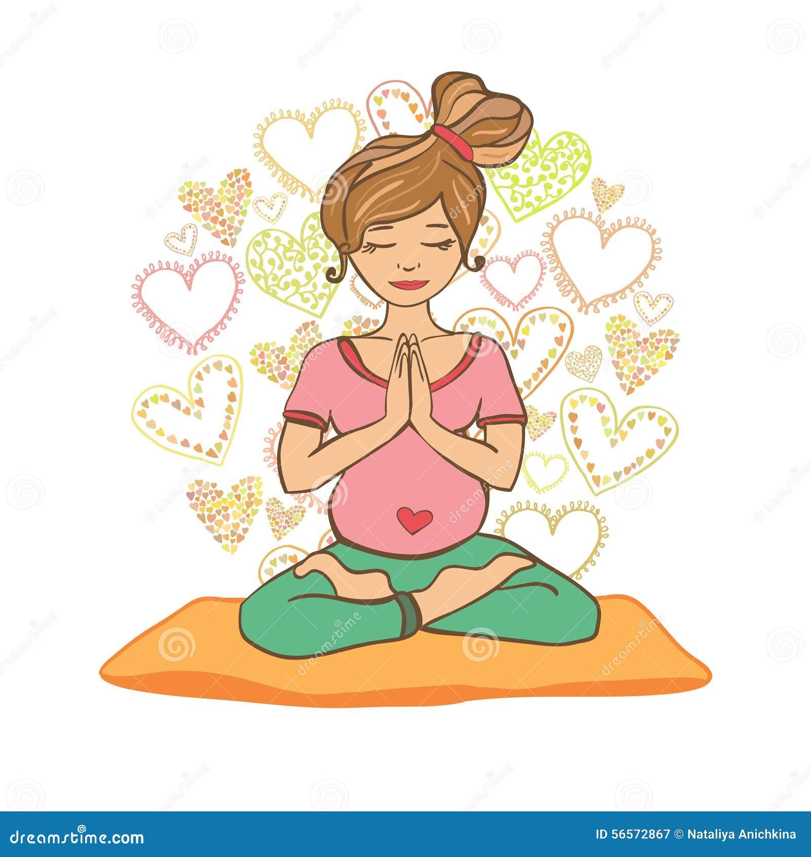 Beautiful Girl Doing Prenatal Yoga. Stock Illustration ...