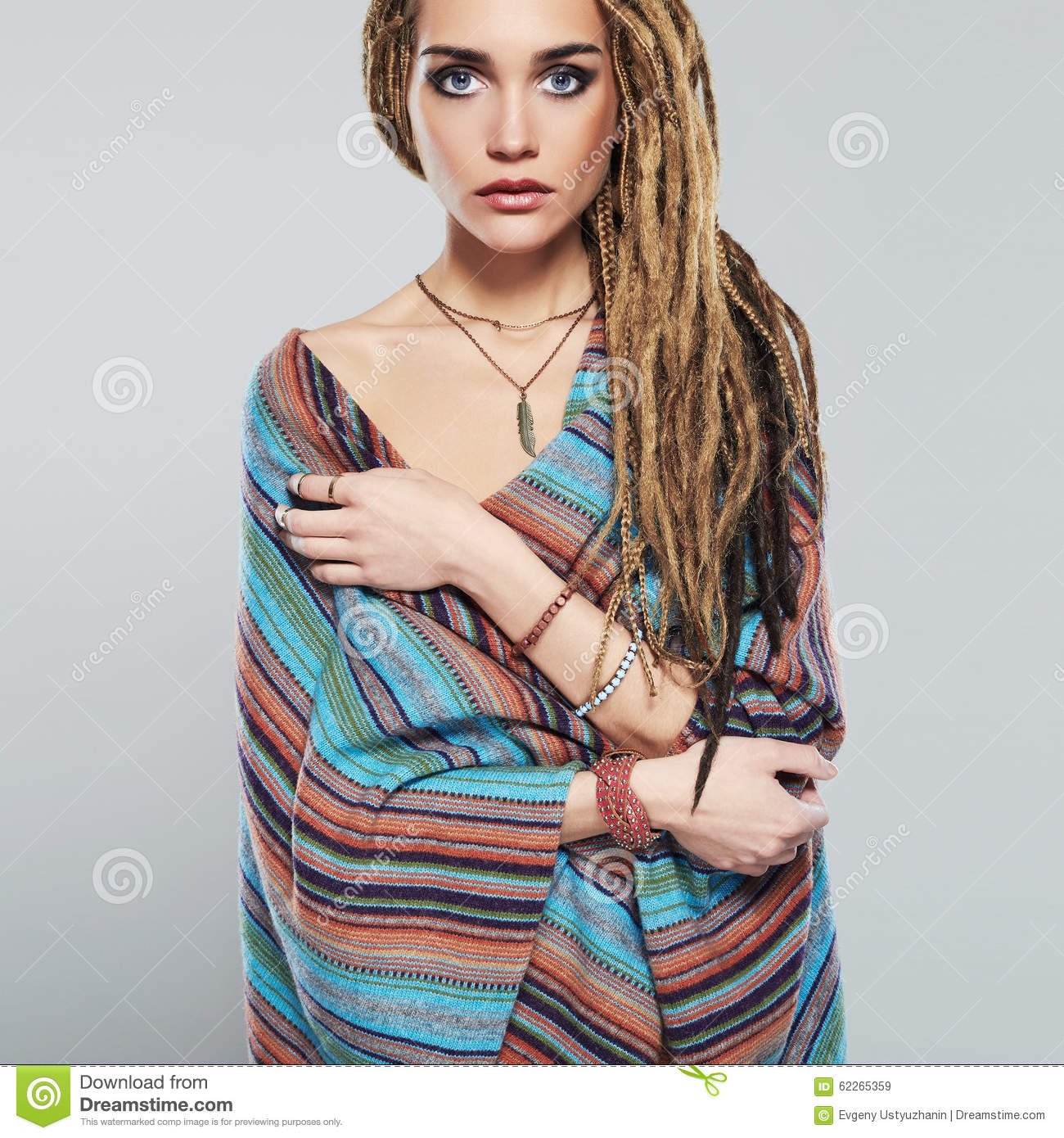 beautiful girl with dreadlocks pretty young woman with braids african hairstyle hippie stock. Black Bedroom Furniture Sets. Home Design Ideas