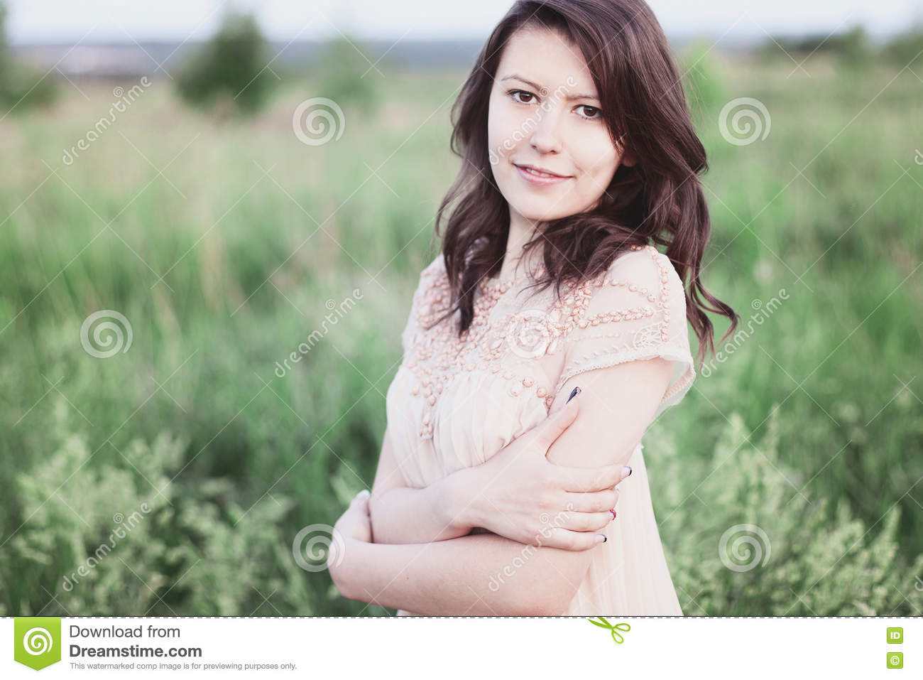 Beautiful Girl Dress With Brown Hair, Hot Summer Day Park