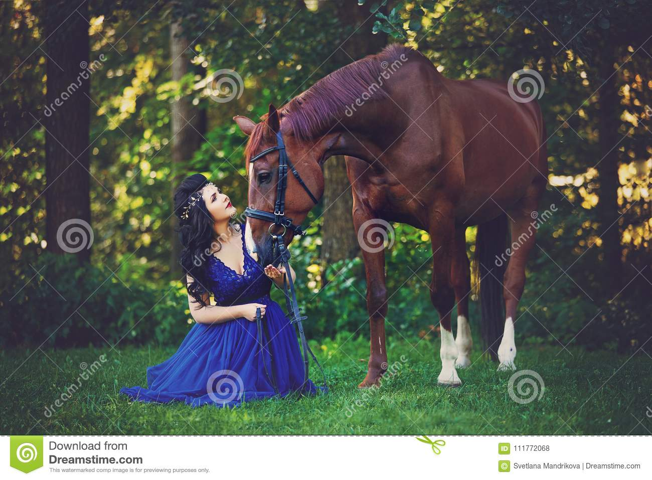Beautiful Girl In Dress With Horse Stock Photo Image Of Nature