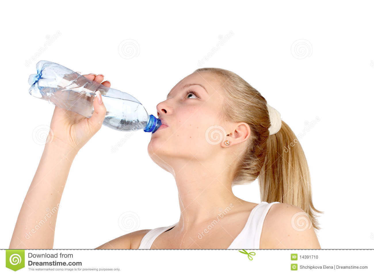 Beautiful Girl Drinks Mineral Water Stock Photo Image