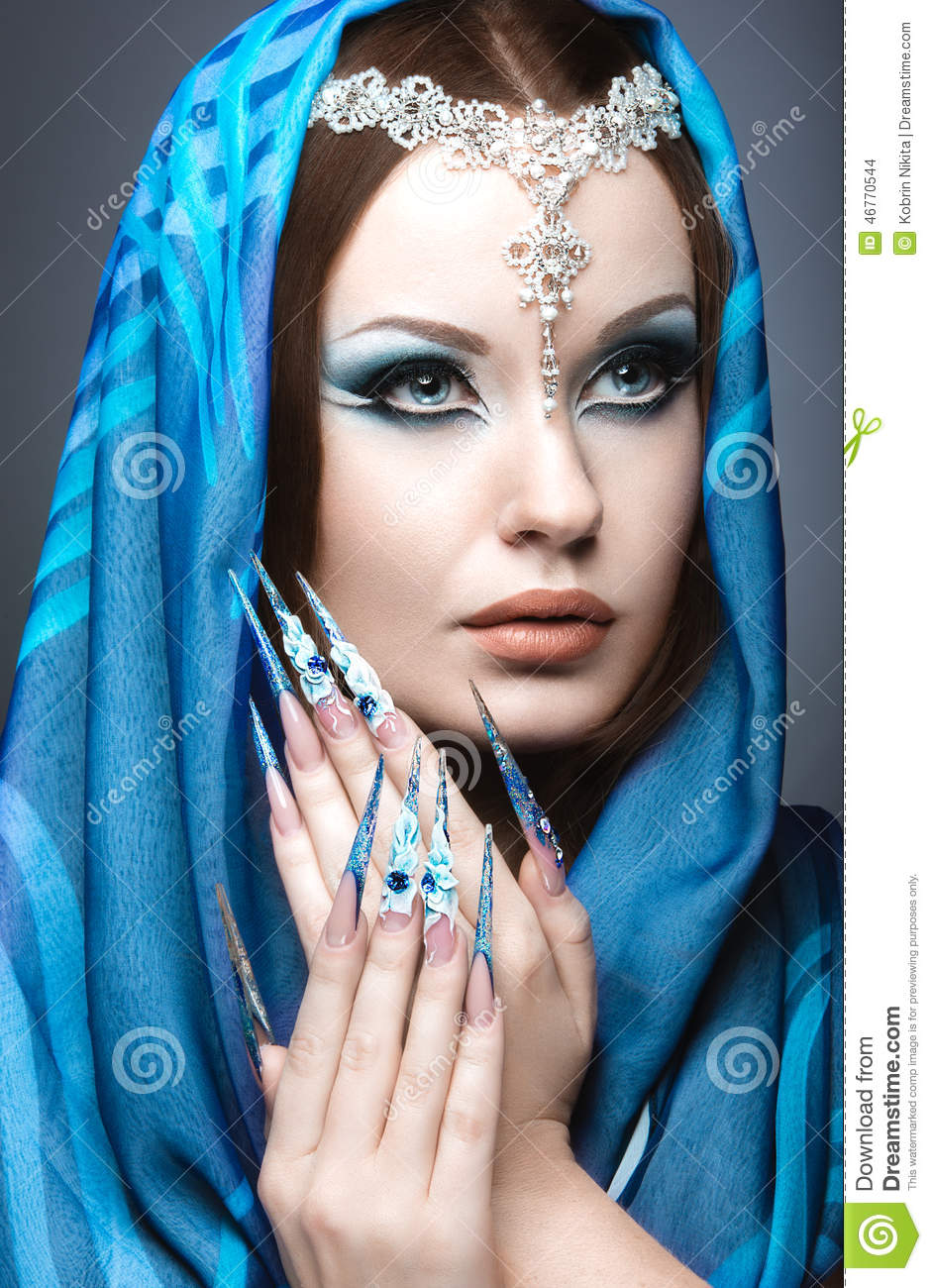 Beautiful Girl In Eastern Arabic Image With Long Nails And