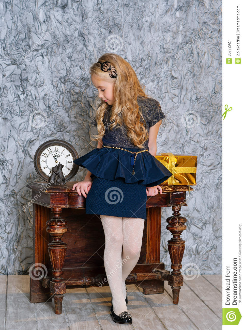 Beautiful Girl In Elegant Dress Royalty Free Stock ...