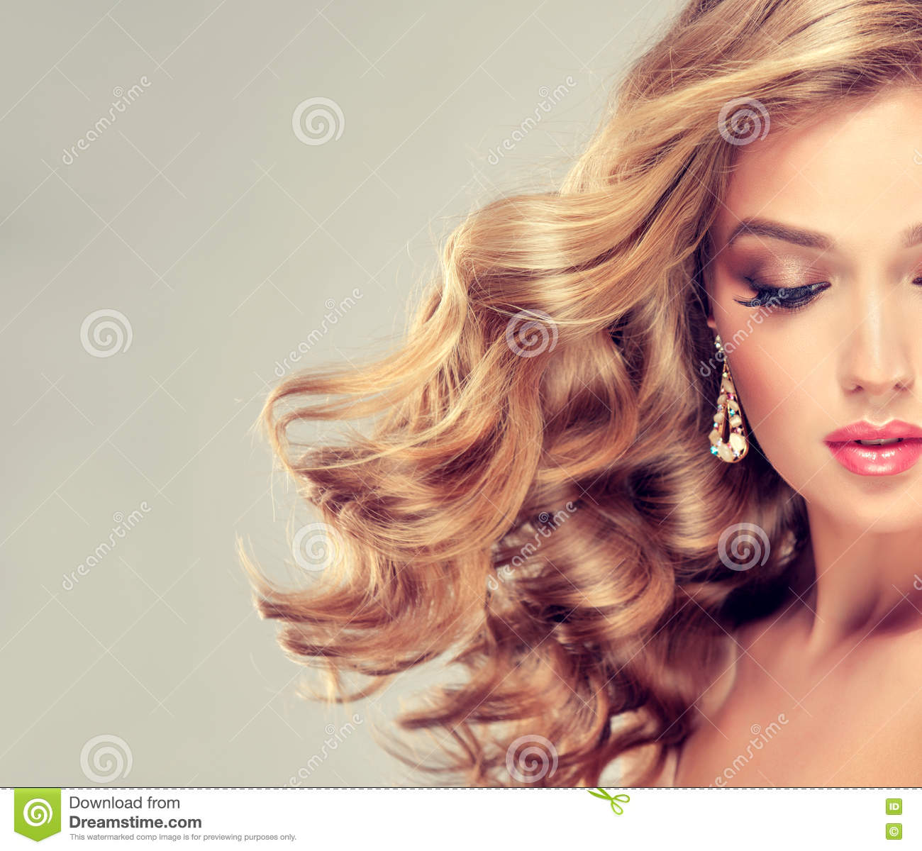 Beautiful Girl With An Elegant Hairstyle Stock Photo
