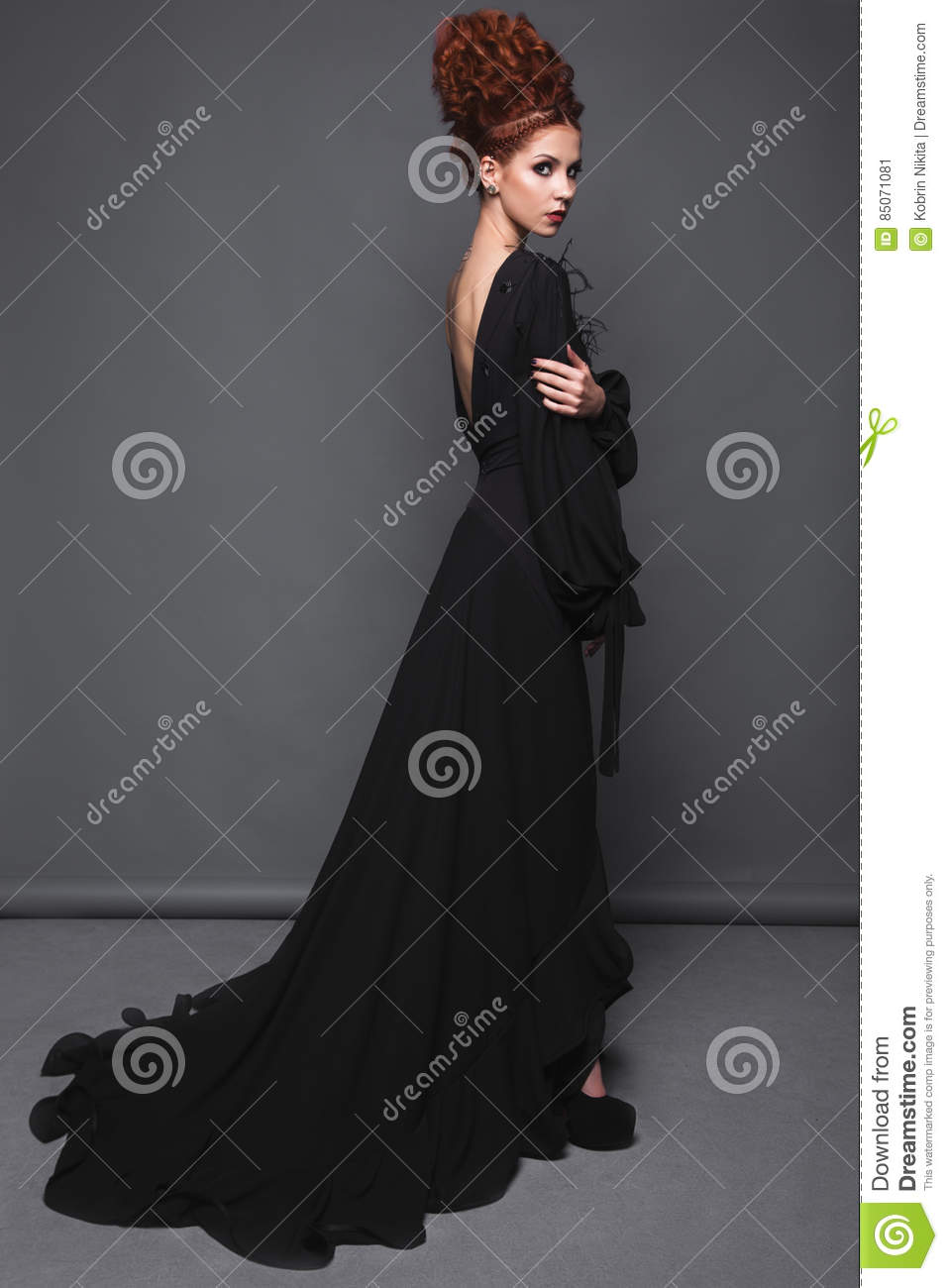 Beautiful Girl In Evening Dress With Avant-garde Hairstyles. Beauty ...