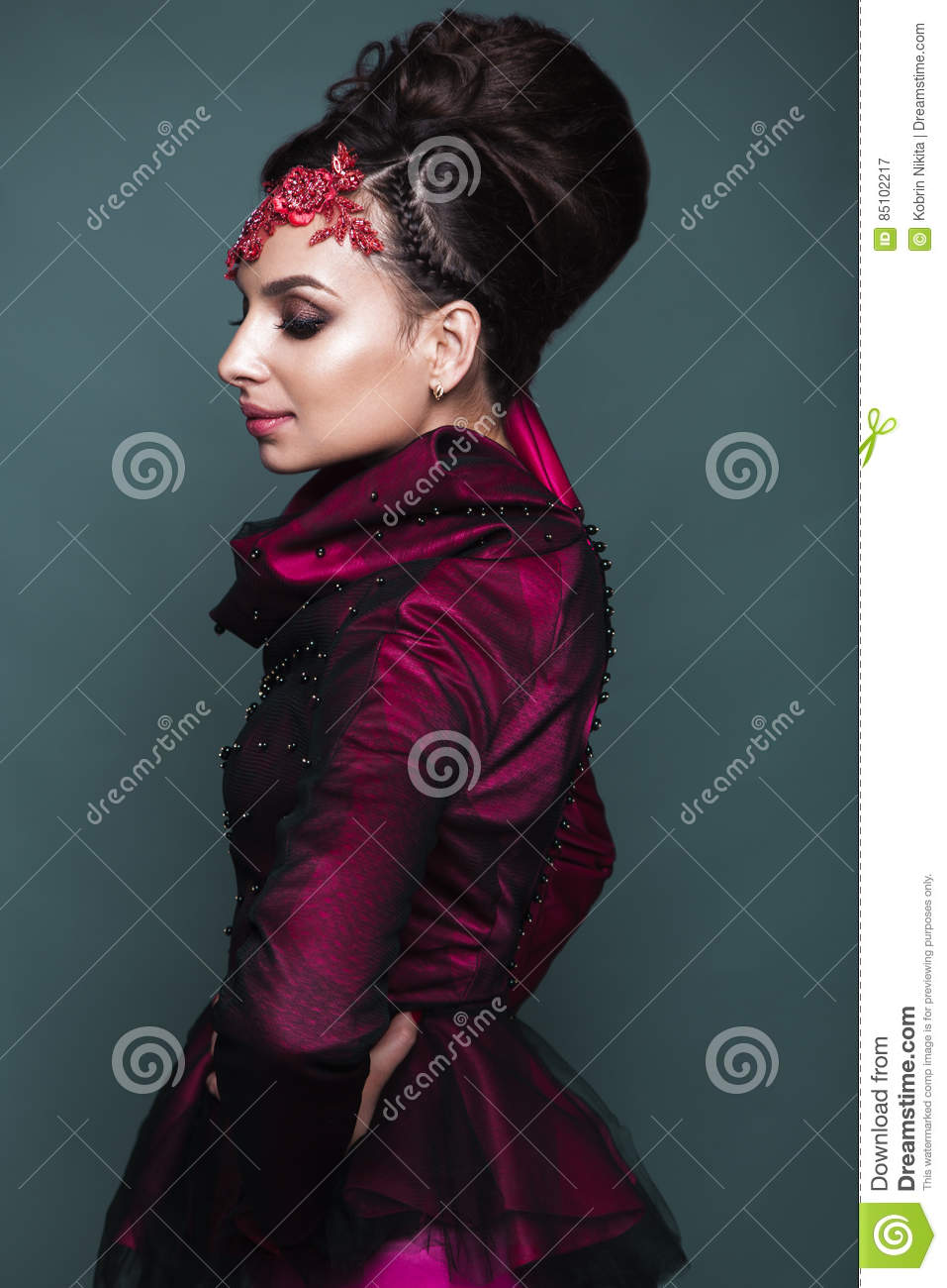 Beautiful Girl In Evening Dress With Avant-garde Hairstyles ...