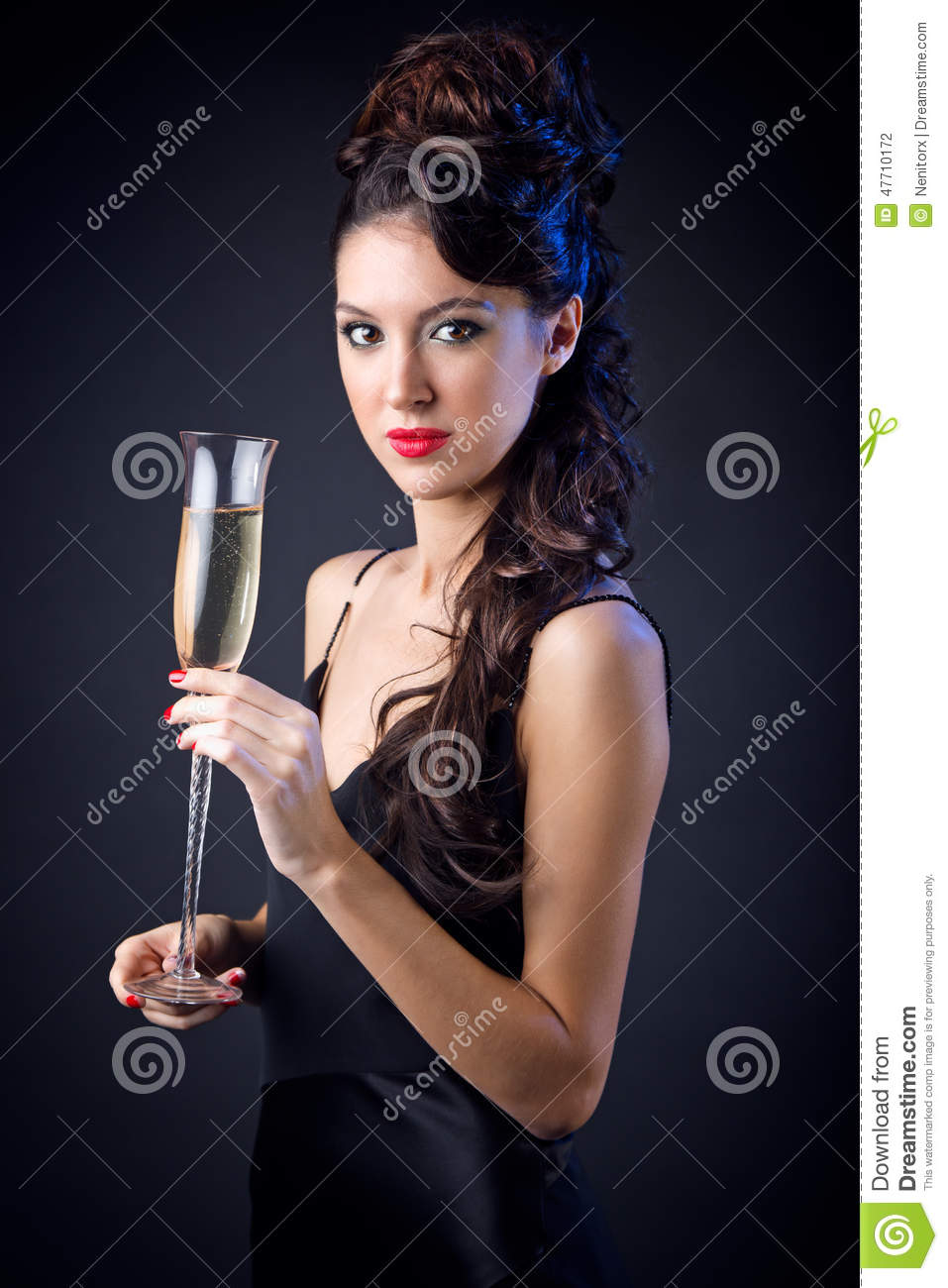 Beautiful Party Girl With Wine Glass Royalty Free Stock
