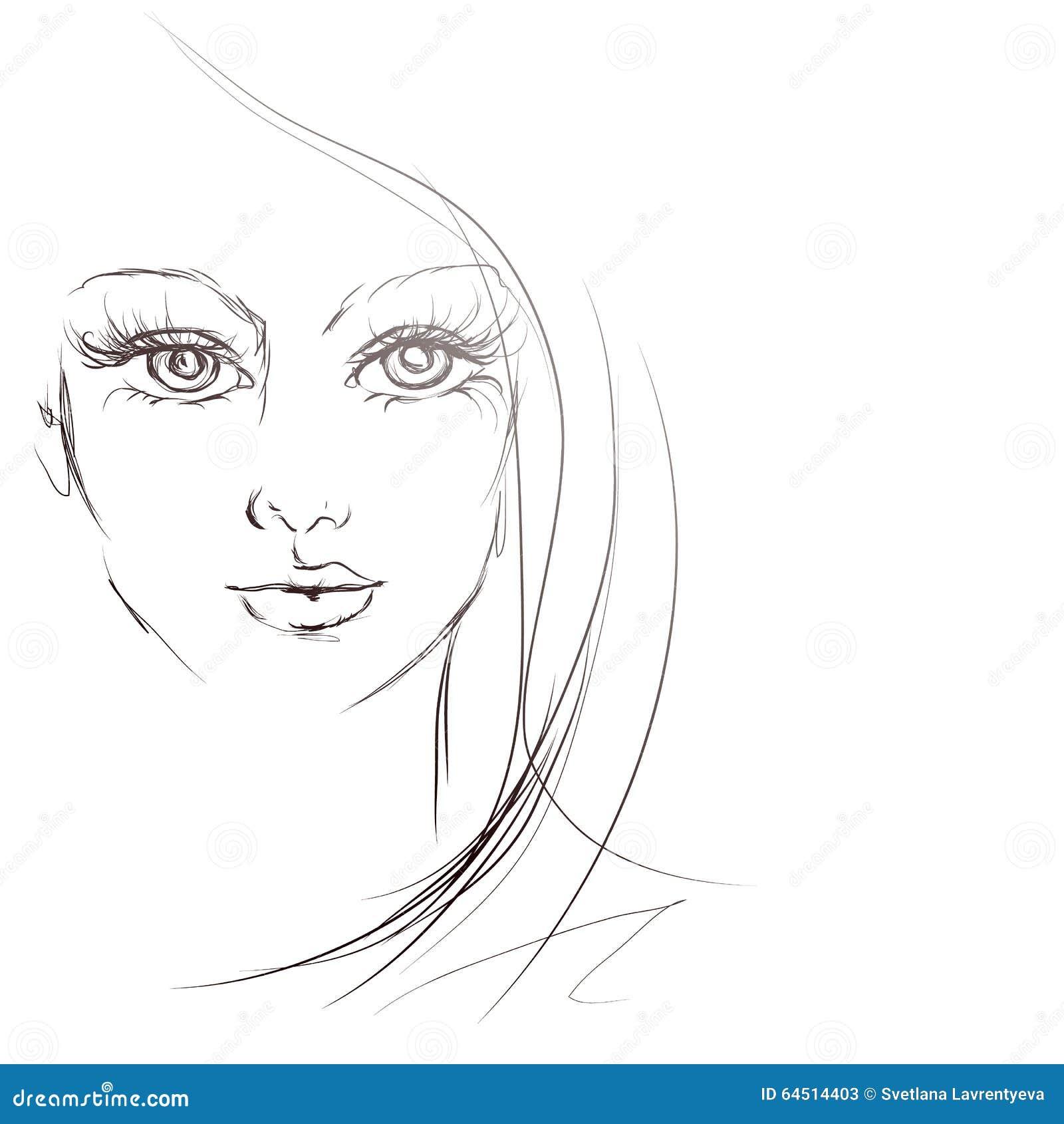 Beautiful Girl Face, Sketch, Vector Stock Vector