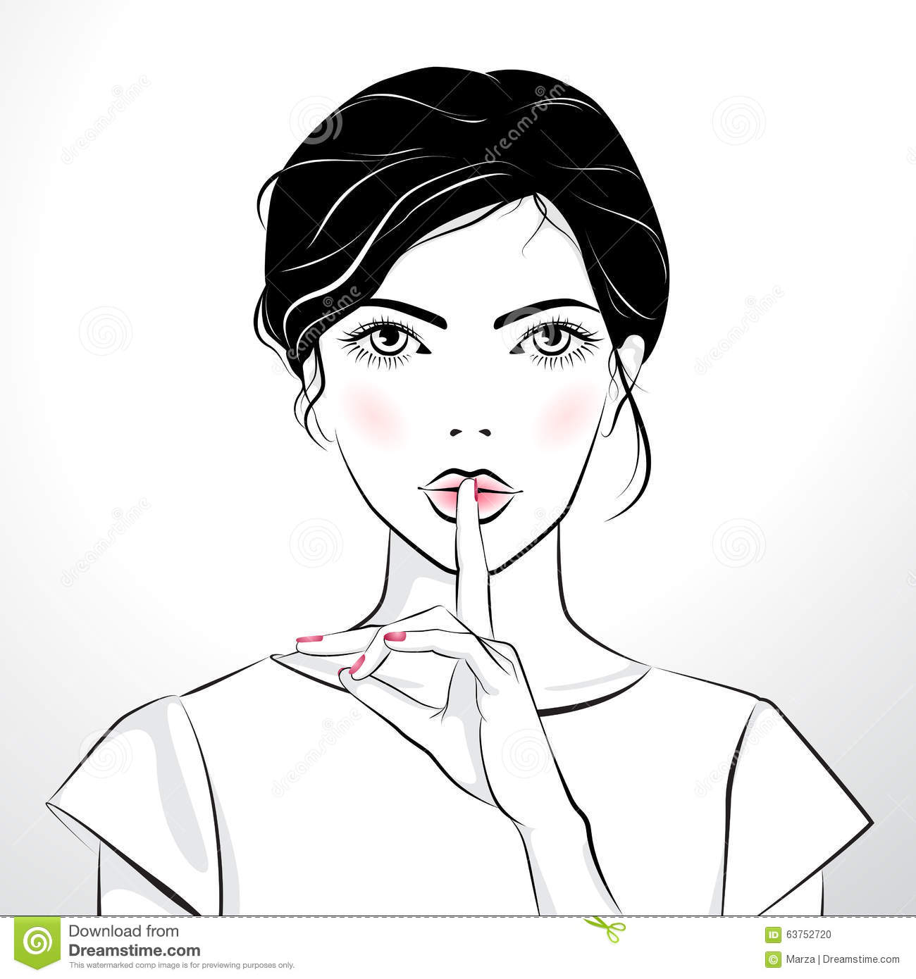 Beautiful Girl With Finger On Her Lips Stock Illustration - Illustration Of Head Gossip 63752720