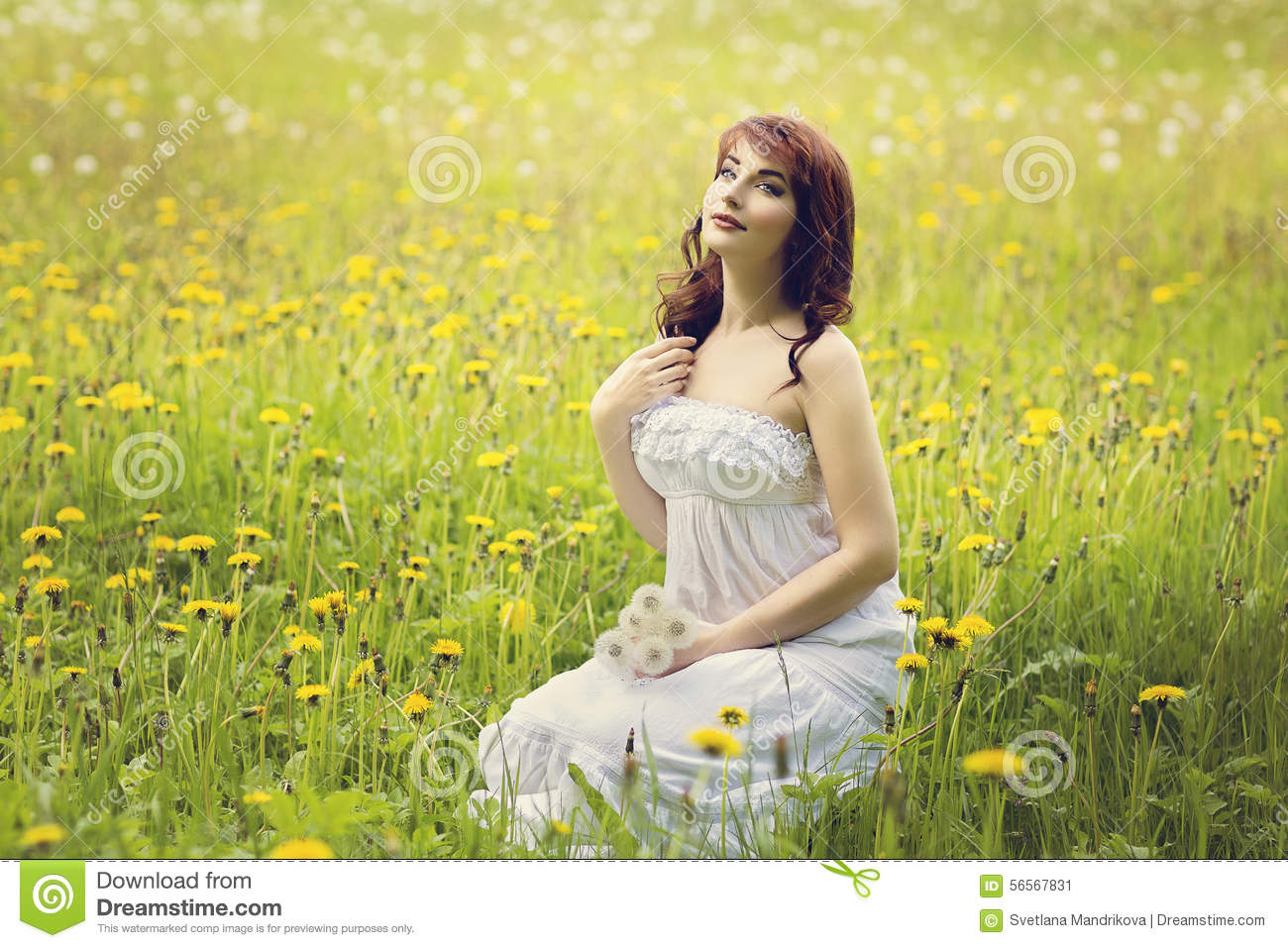 Beautiful Girl In Flower Field Stock Photo - Image: 56567831