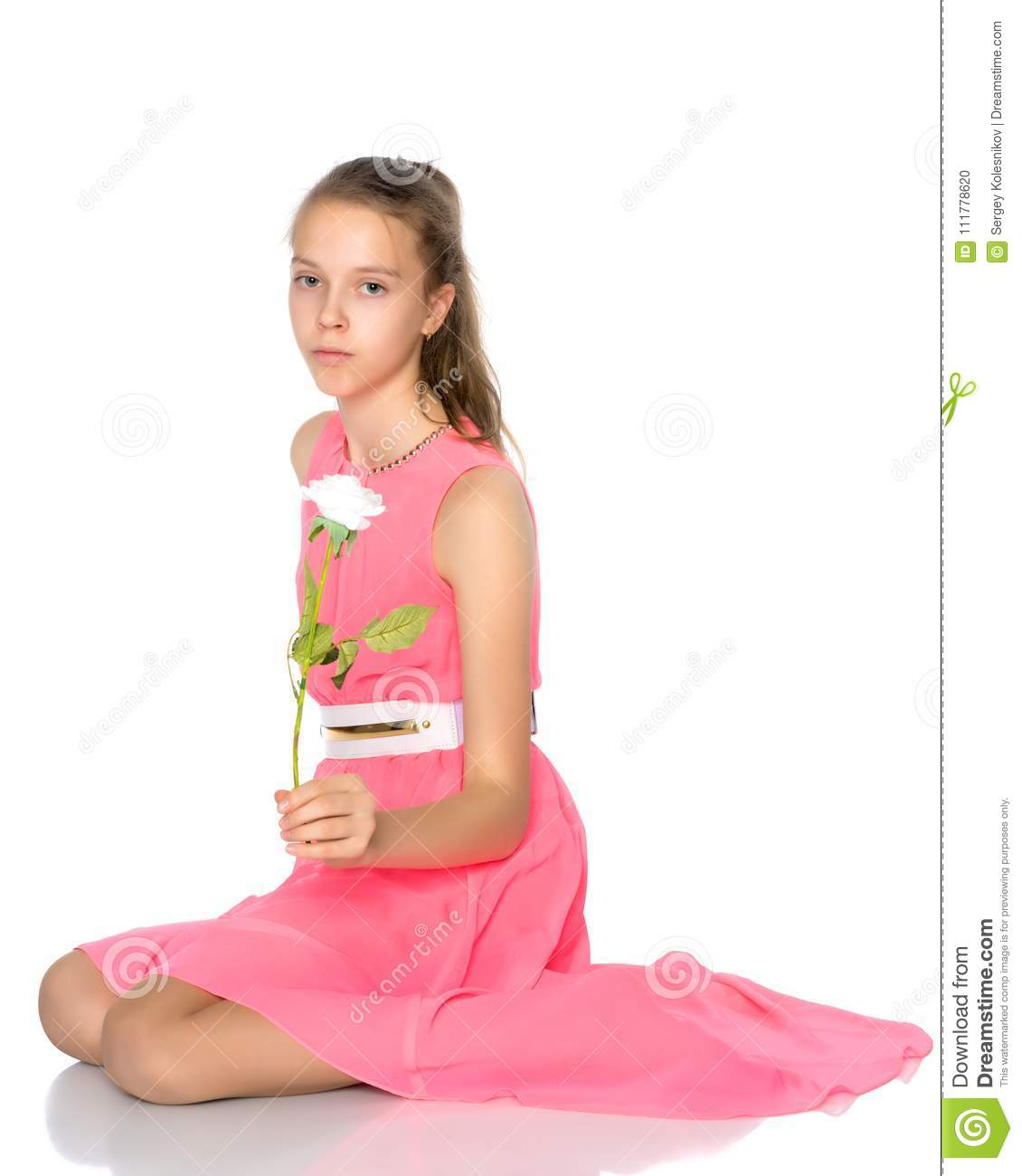 Beautiful girl with a flower.