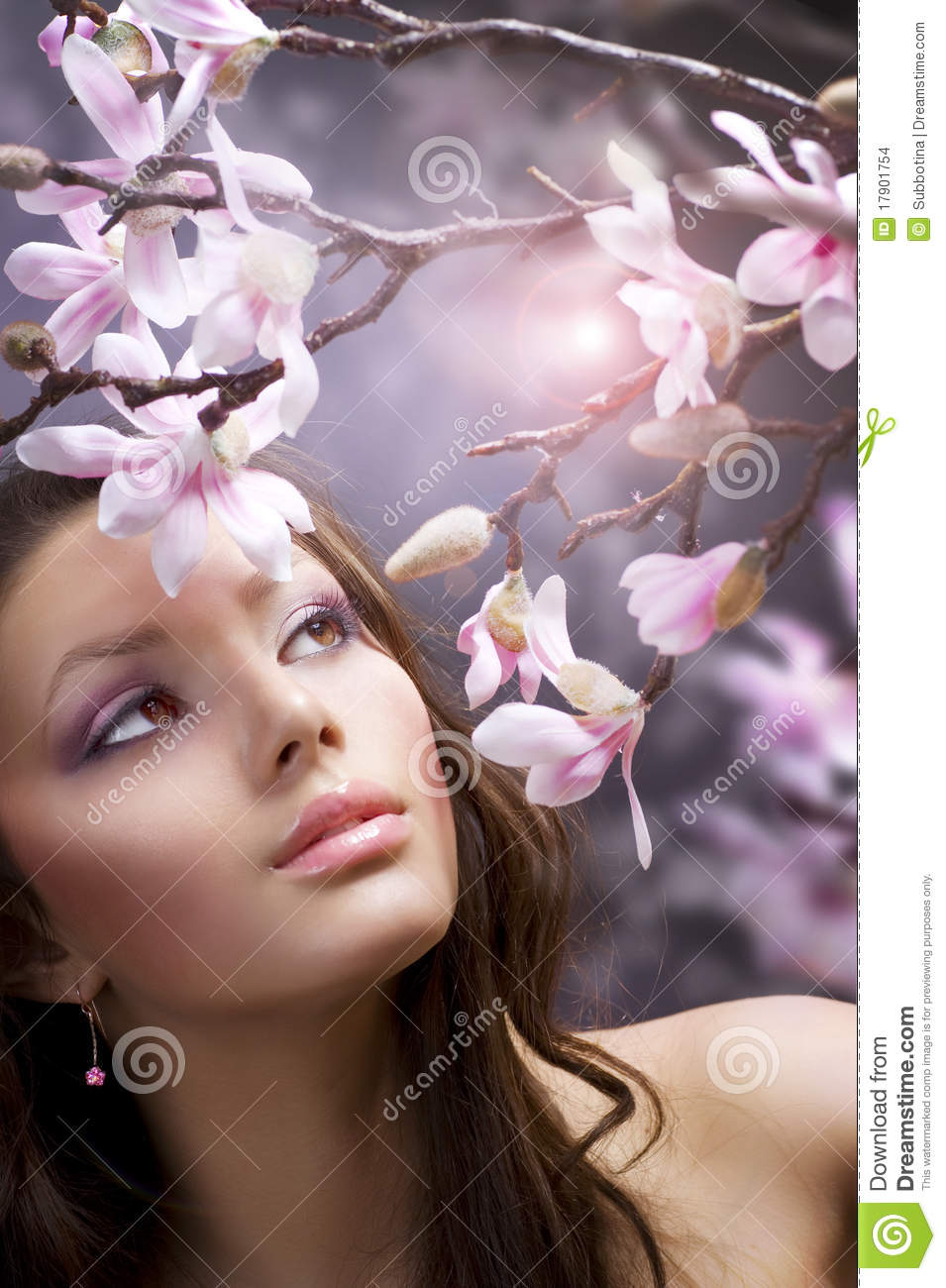 Beautiful girl with flowers stock photo image of clear happy beautiful girl with flowers izmirmasajfo