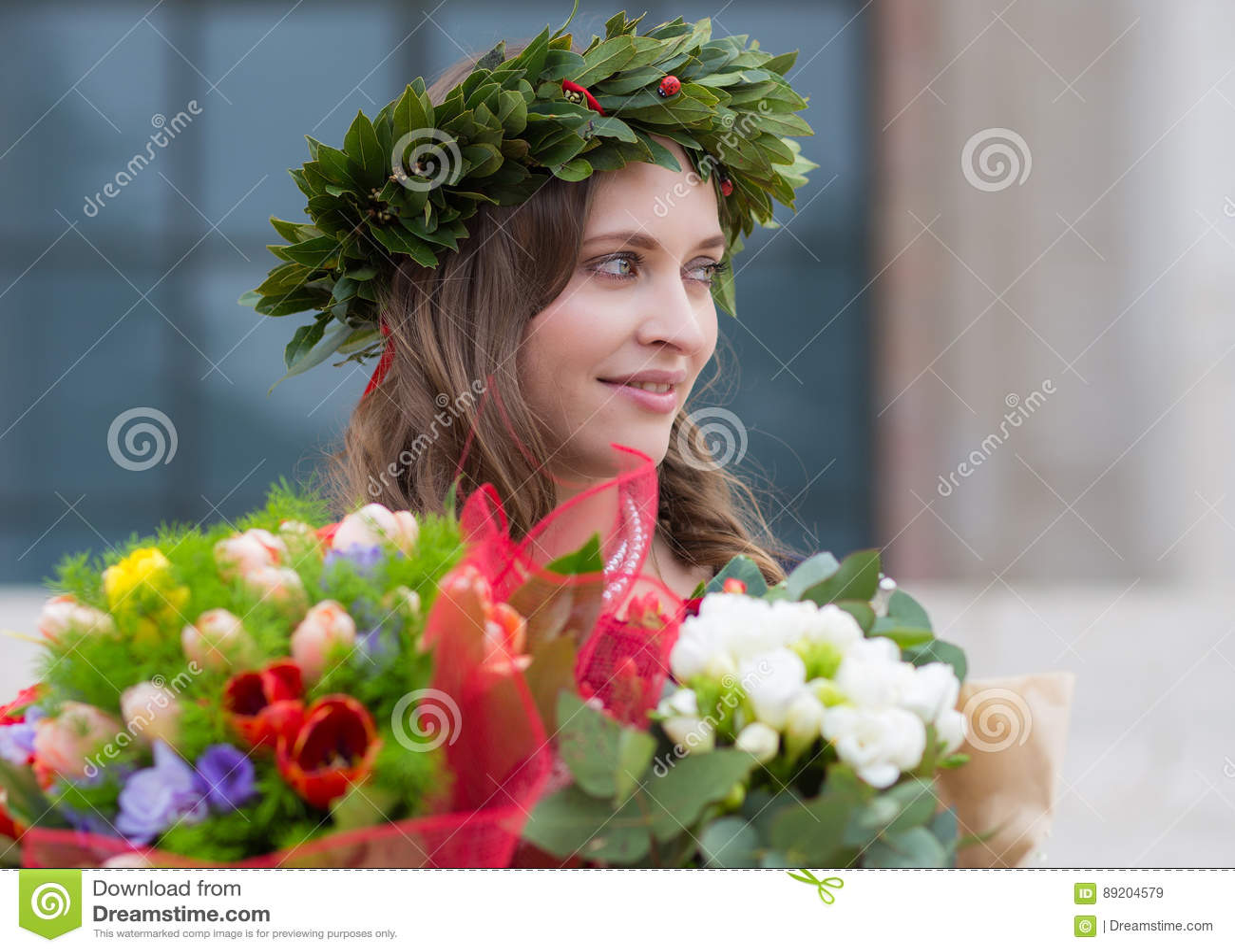 Beautiful girl with flowers graduated stock image image of beautiful girl with flowers graduated izmirmasajfo