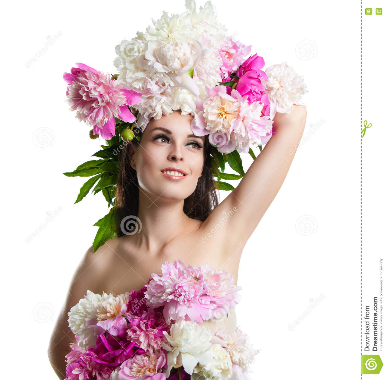 Beautiful girl with flowers peonies portrait of a young woman beautiful dress flowers dhlflorist Gallery