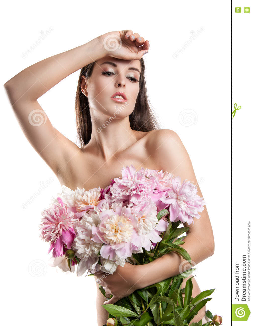 Beautiful girl with flowers peonies a woman holding a large bouquet beautiful girl with flowers peonies a woman holding a large bouquet of flowers in their izmirmasajfo