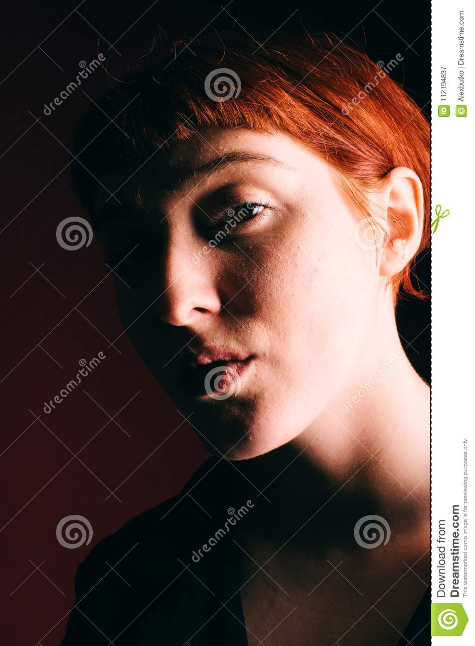 Beautiful Girl Freak With Red Hair And A Short Haircut Stock Image