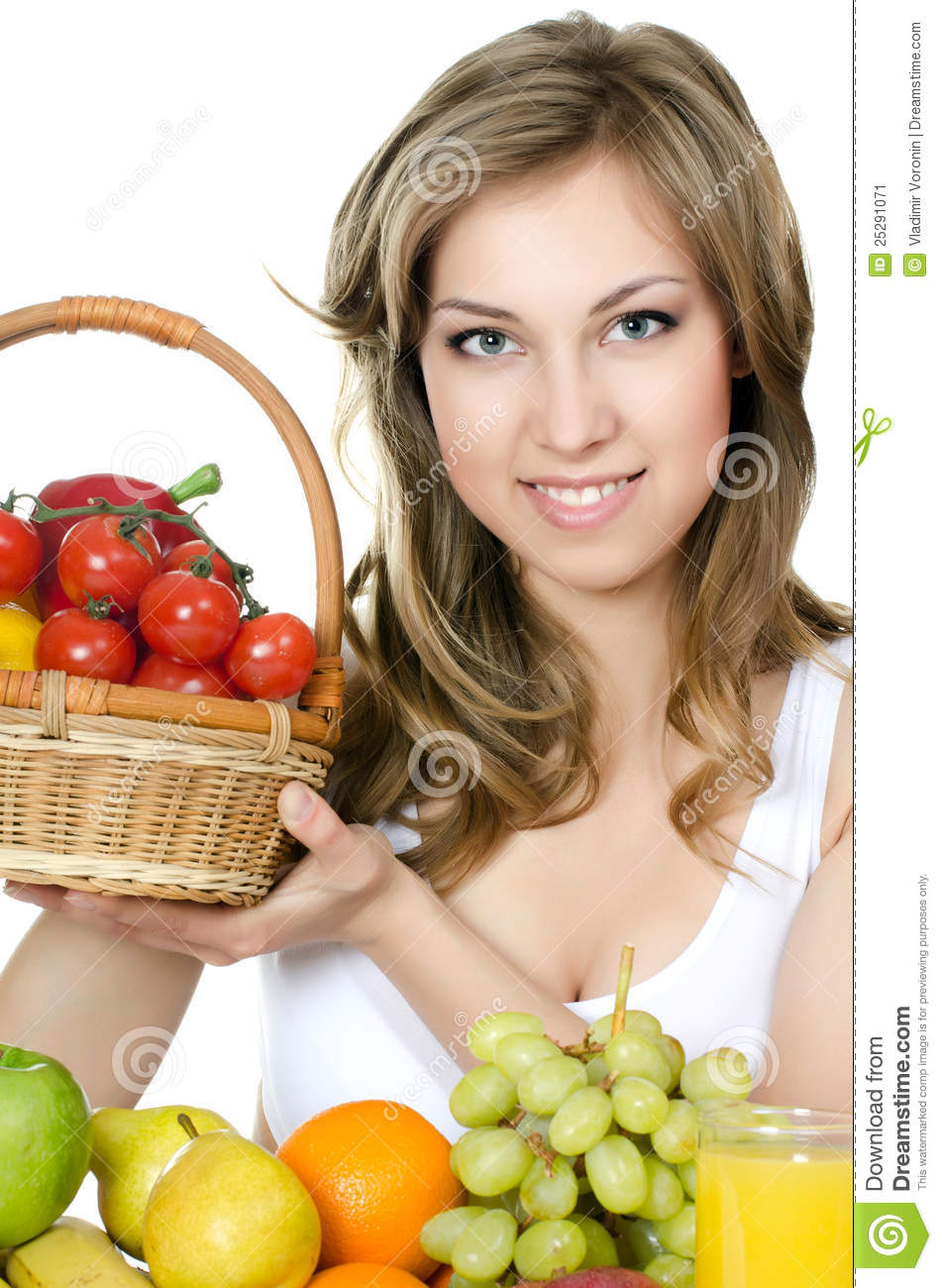 Beautiful girl with fruit and vegetables stock image for Beautiful vegetables