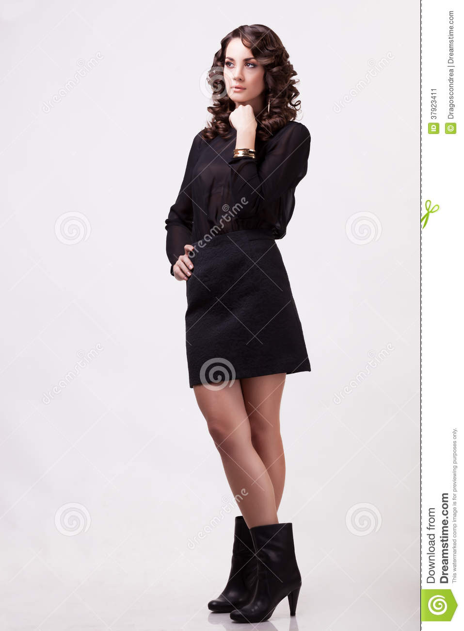 beautiful girl full body on grey background stock image