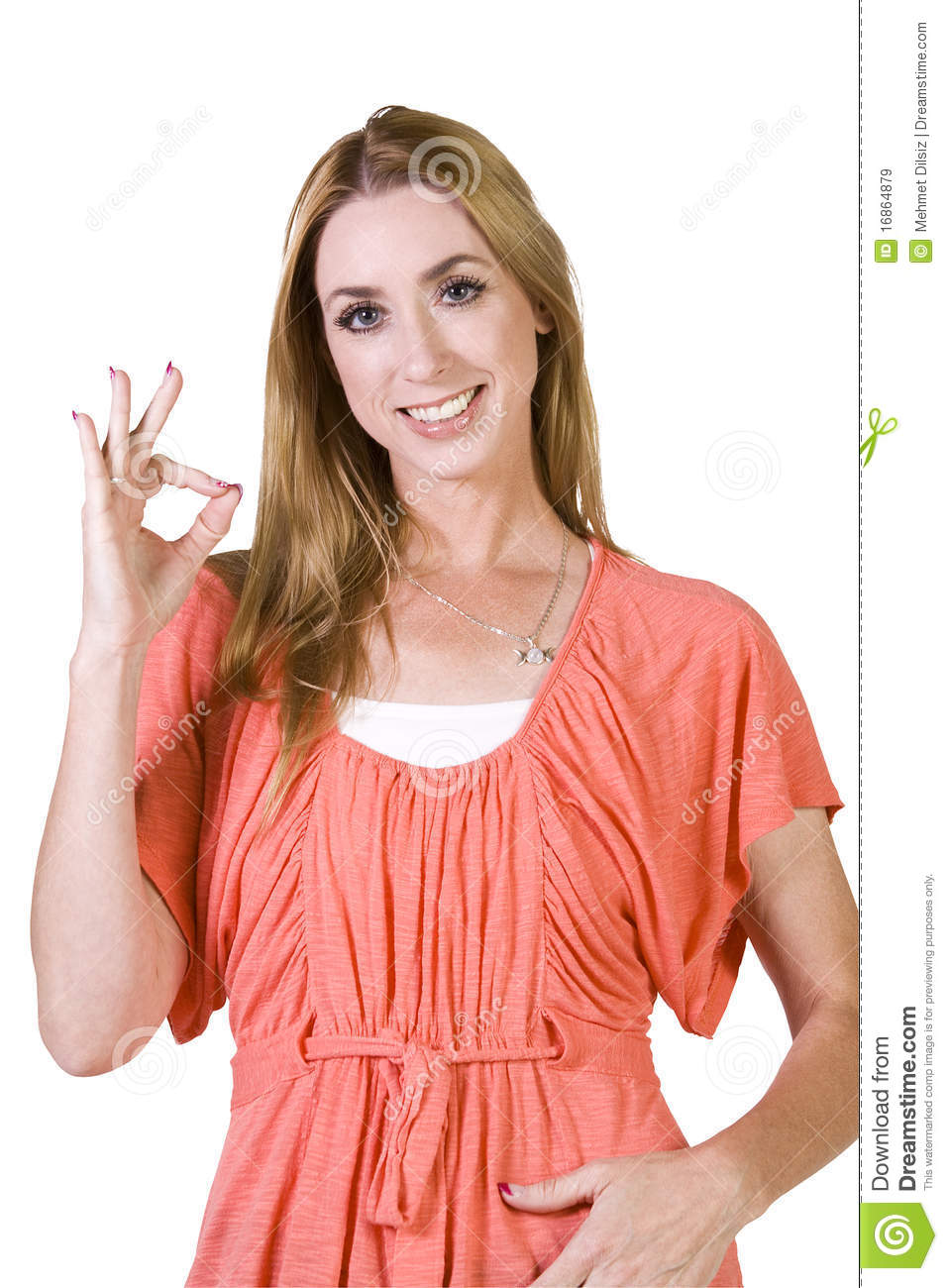 Beautiful Girl Giving The OK Sign Royalty Free Stock