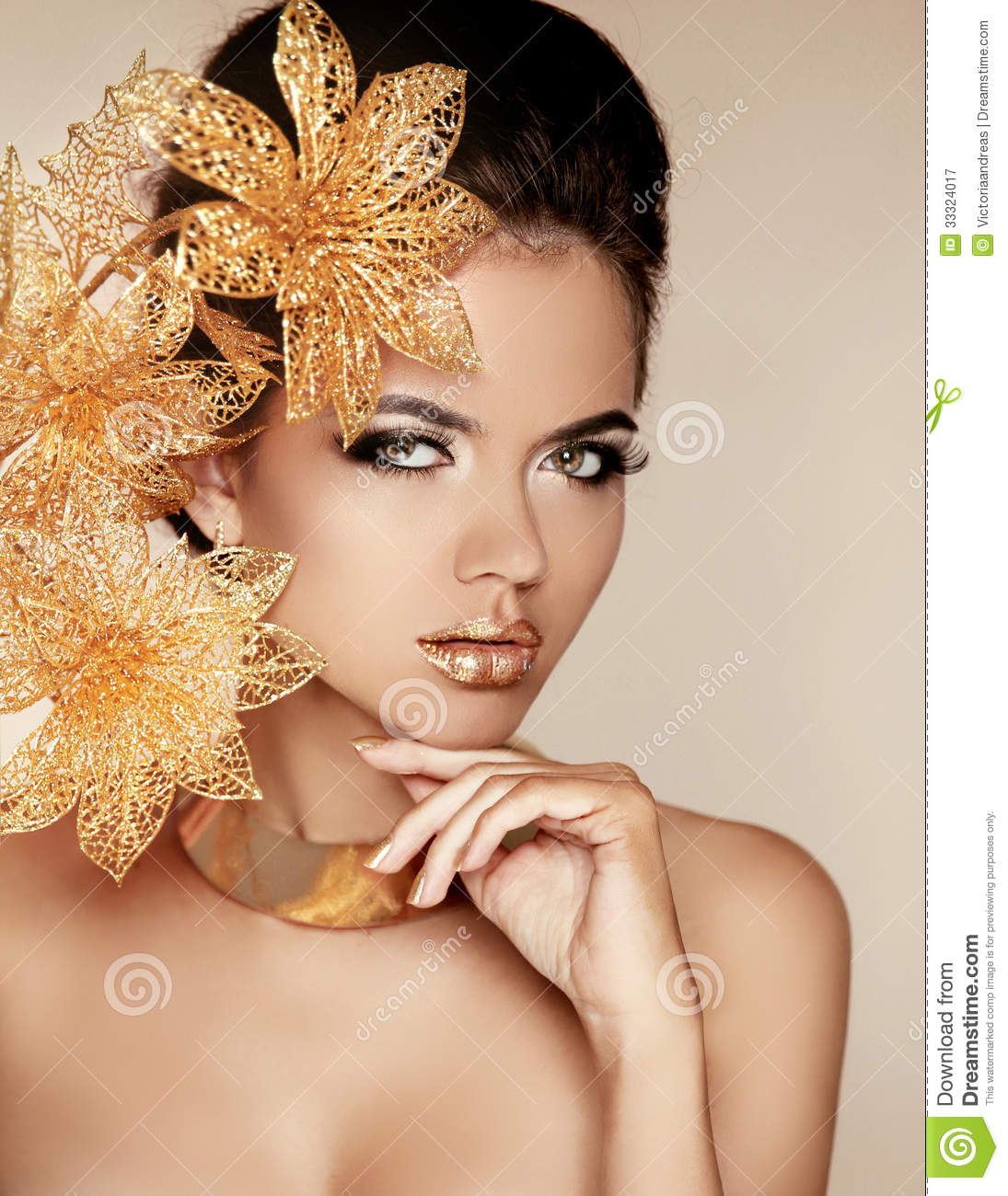 Pretty Fashion Beautiful Womens Floral Flower Scarf Shawl: Beautiful Girl With Golden Flowers. Beauty Model Woman