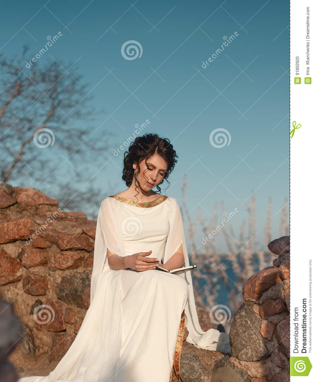 Beautiful Girl In A Greek Dress Stock Photo - Image of palace ...
