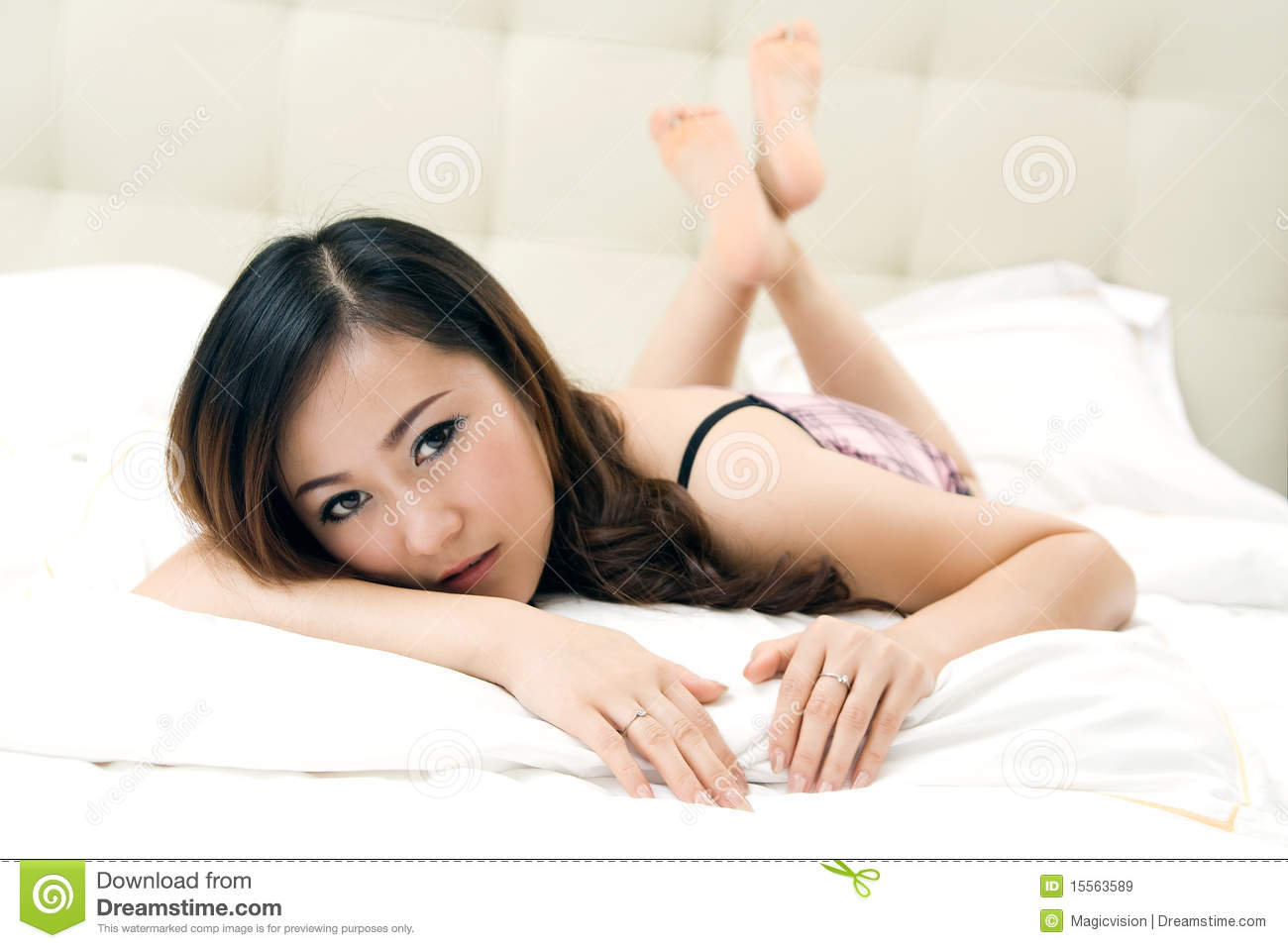Beautiful Girl Groveling In Bed Royalty Free Stock Images - Image ...