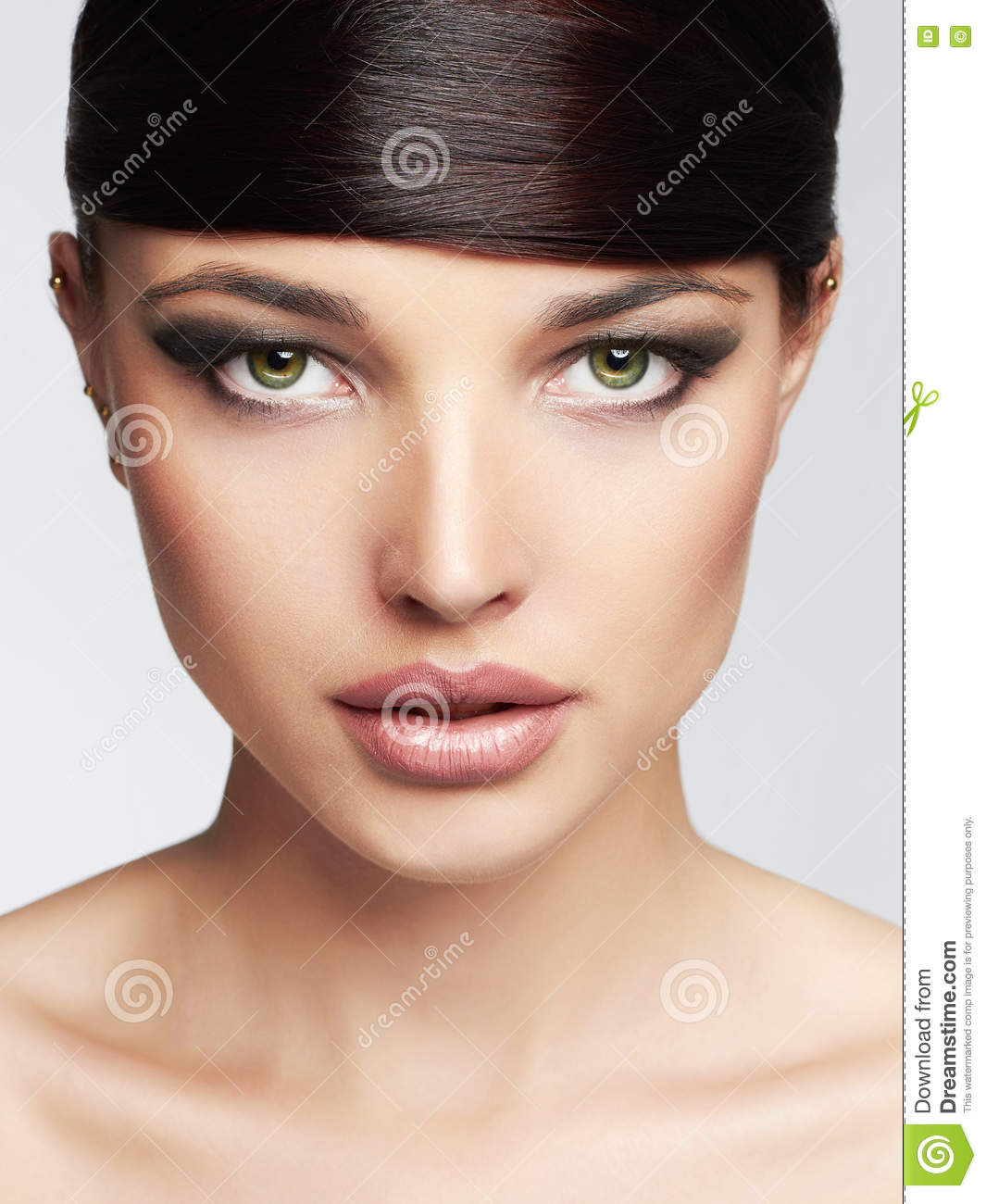 Fashion Beautiful Girl Hairstyle Fringe Professional Makeup Young Beauty Woman Royalty Free