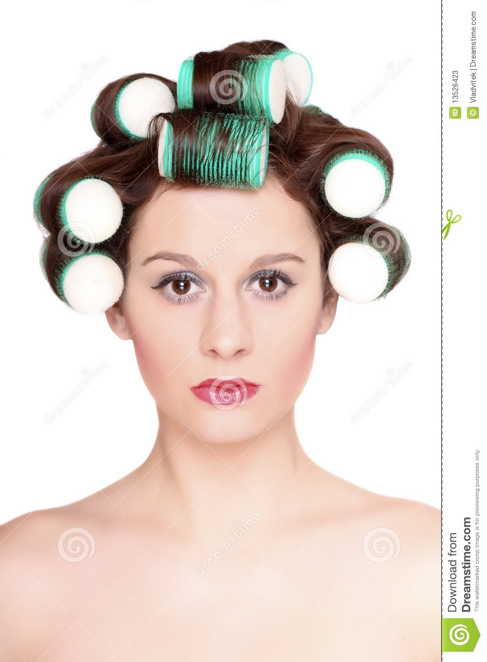 Beautiful Girl Is Having Hair Curlers Stock Image Image