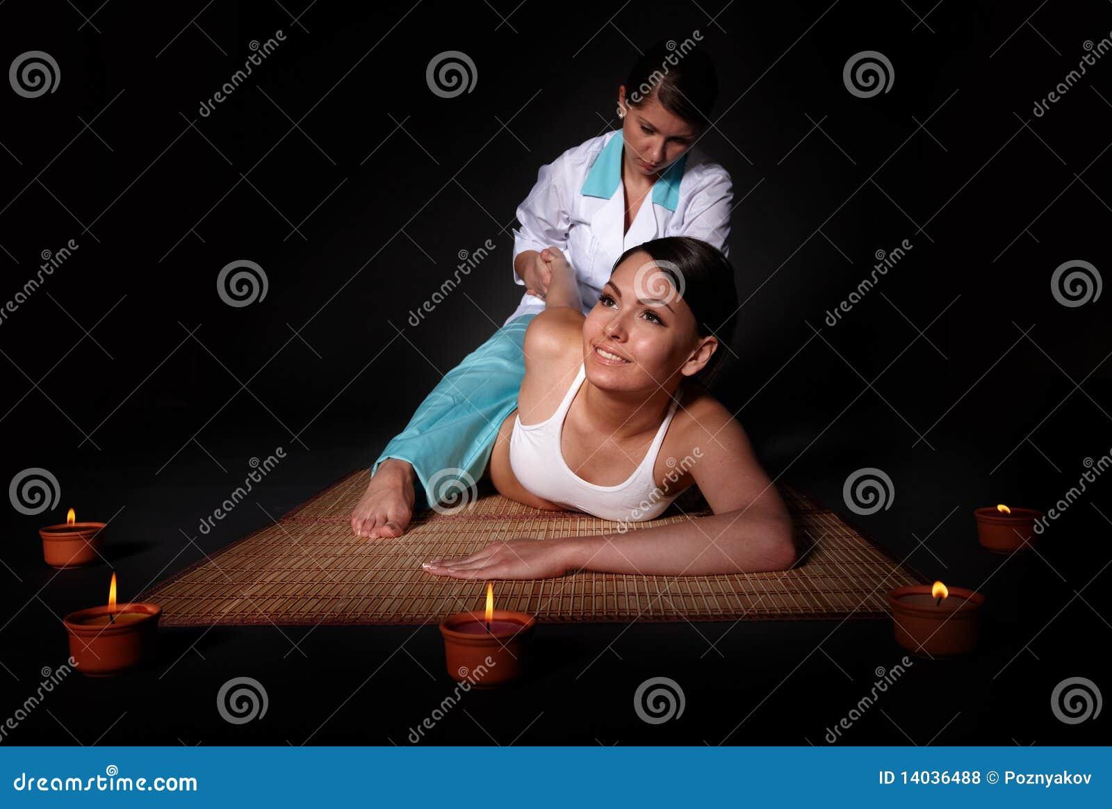 Beautiful Girl Having Thai Massage. Stock Photo - Image ...