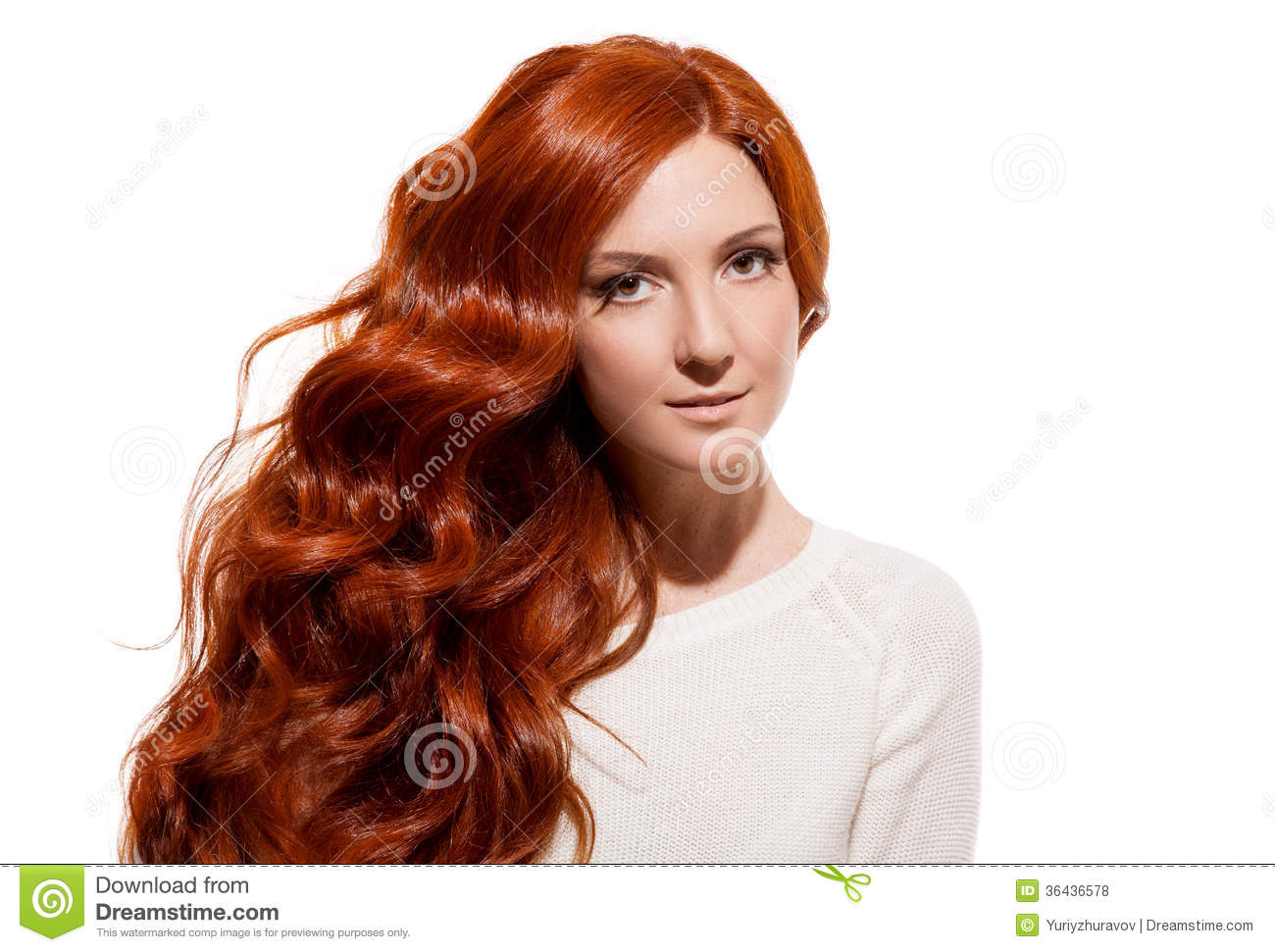 Beautiful Girl Healthy Long Hair White Background Stock -2891