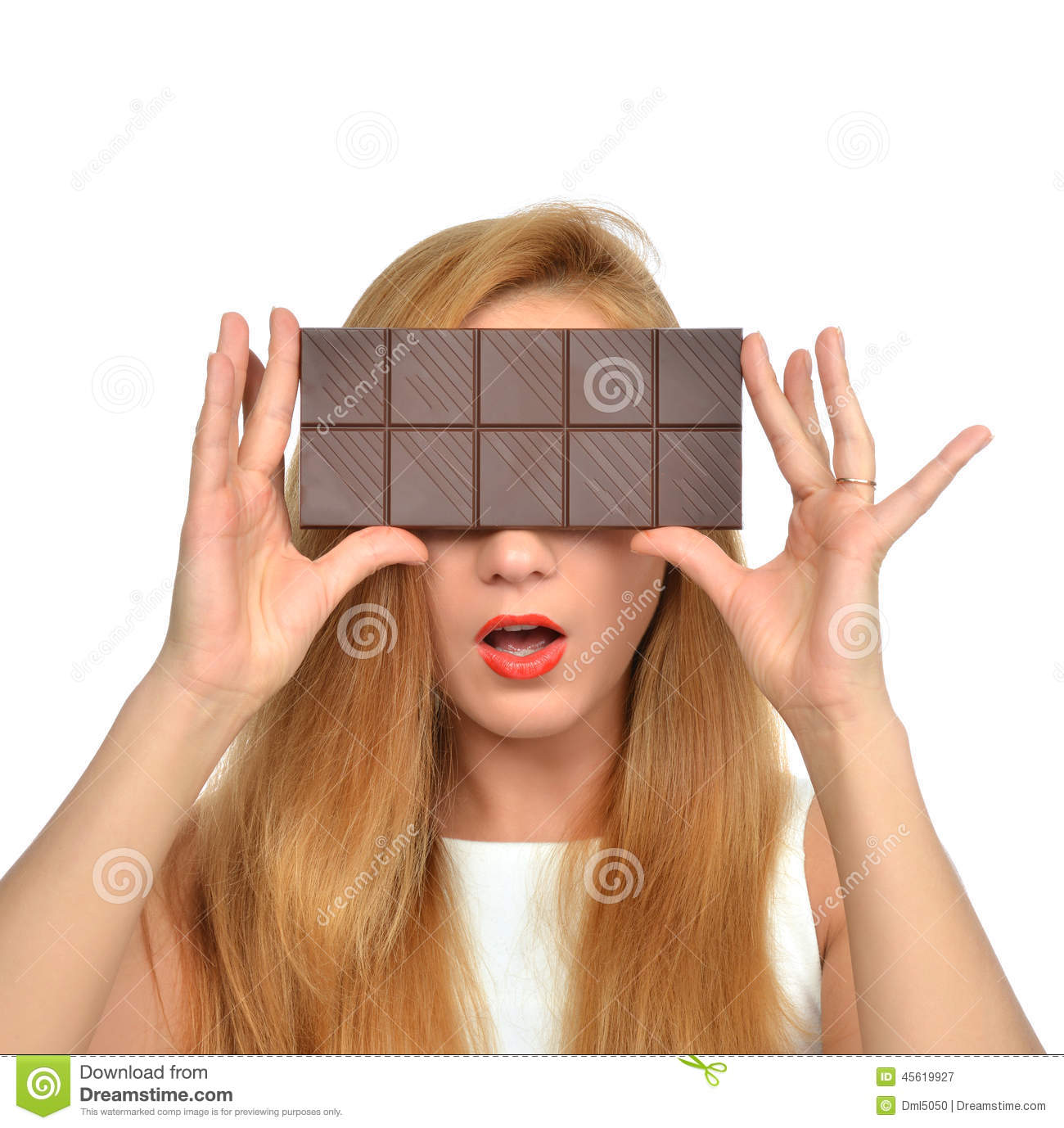 Beautiful Girl Hide Her Eyes With Chocolate Bar Studio Shot Stock