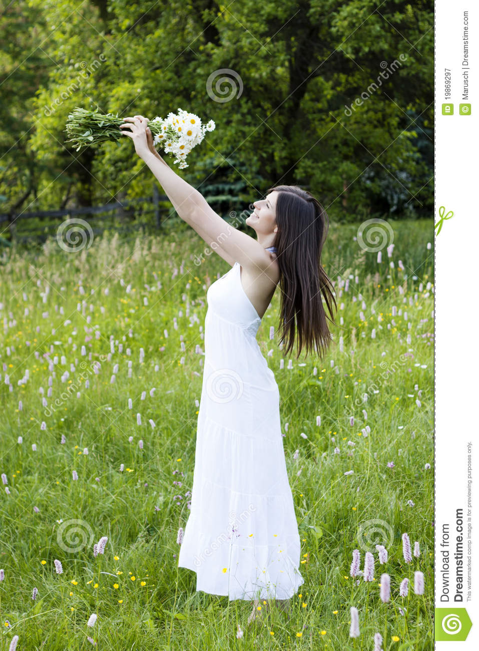 Beautiful Girl Holding Flowers In A Meadow Stock Image