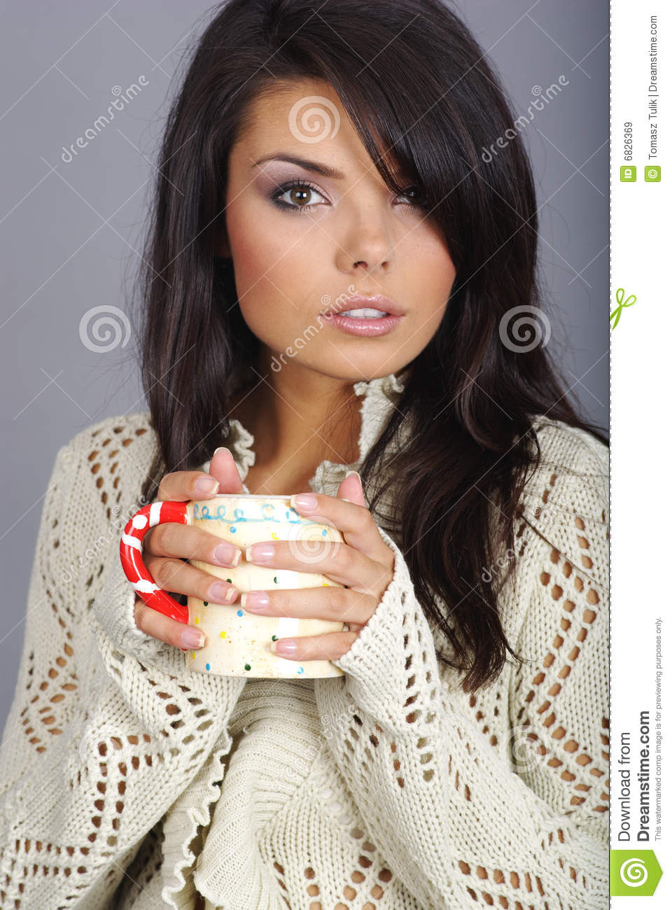 Beautiful Girl Holding Hot Tea Cup Stock Image - Image of