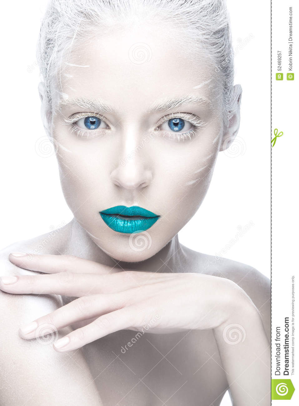 Beautiful Girl In The Image Of Albino With Blue Lips And