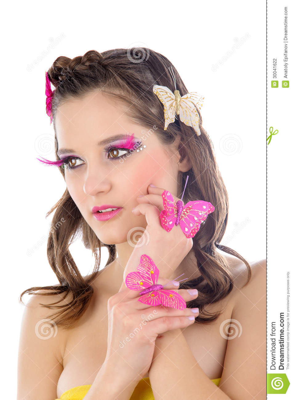 Beautiful Girl With Butterflies In Her Hair And Make-up Isolated On ... b94c52a94