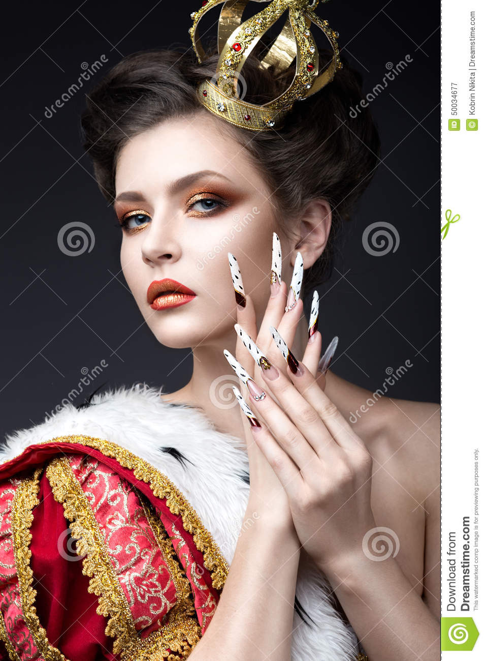 Beautiful Girl In The Image Of The Queen In The Mantle