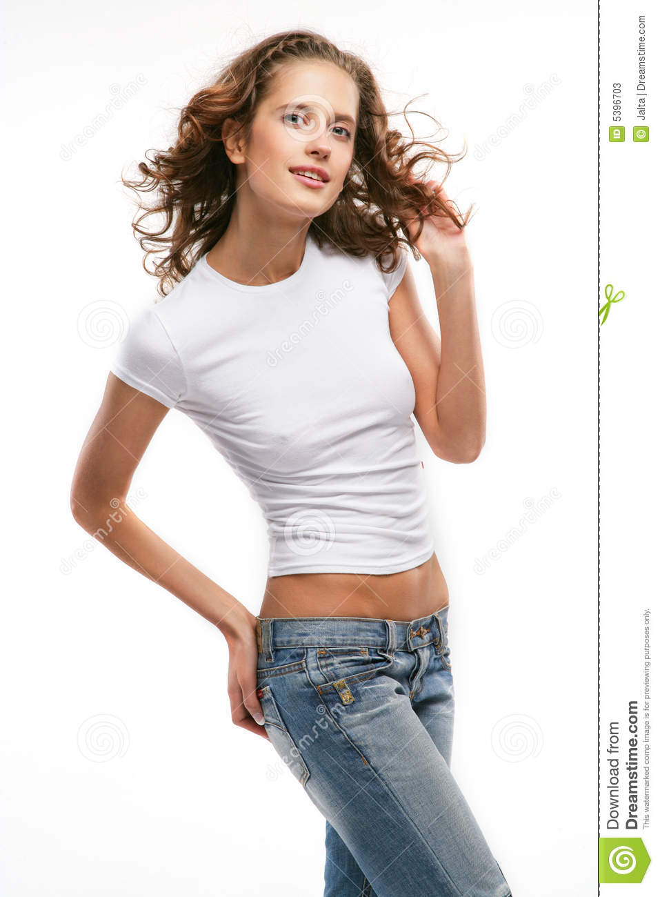 The Beautiful Girl In Jeans Stock Photos - Image 5396703