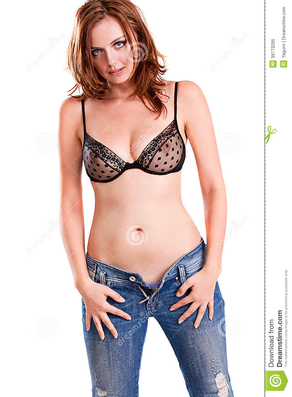 Beautiful Girl Jeans Young Bra Isolated White Background Teen Beauty Pics Depositphotos