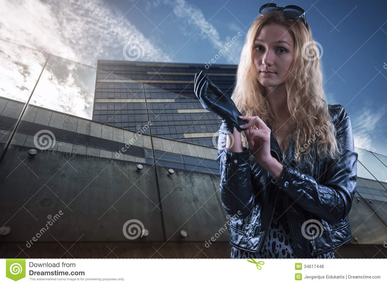 Ladies leather gloves blue - Beautiful Girl In Leather Gloves Royalty Free Stock Photos