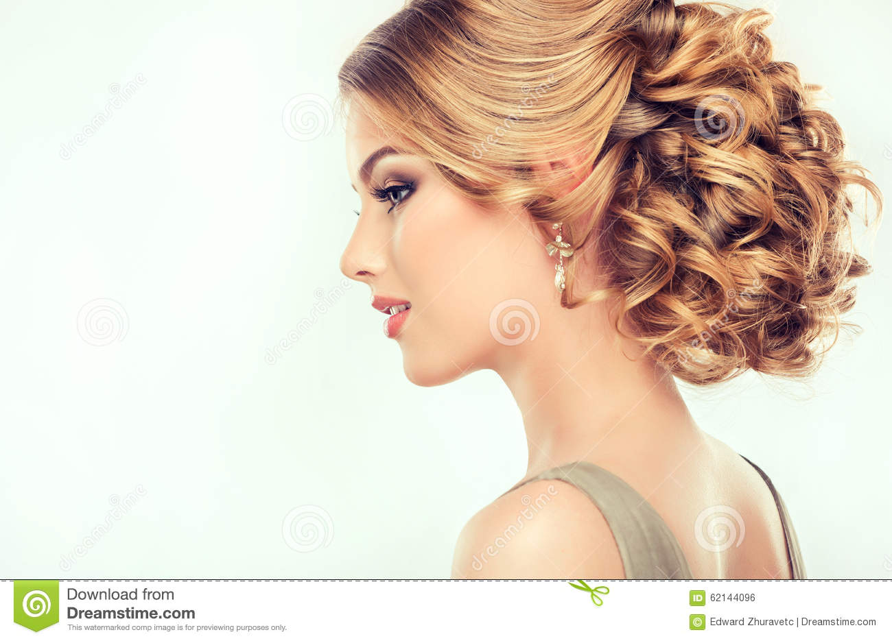 Fine Beautiful Girl Light Brown Hair With An Elegant Hairstyle Stock Short Hairstyles For Black Women Fulllsitofus