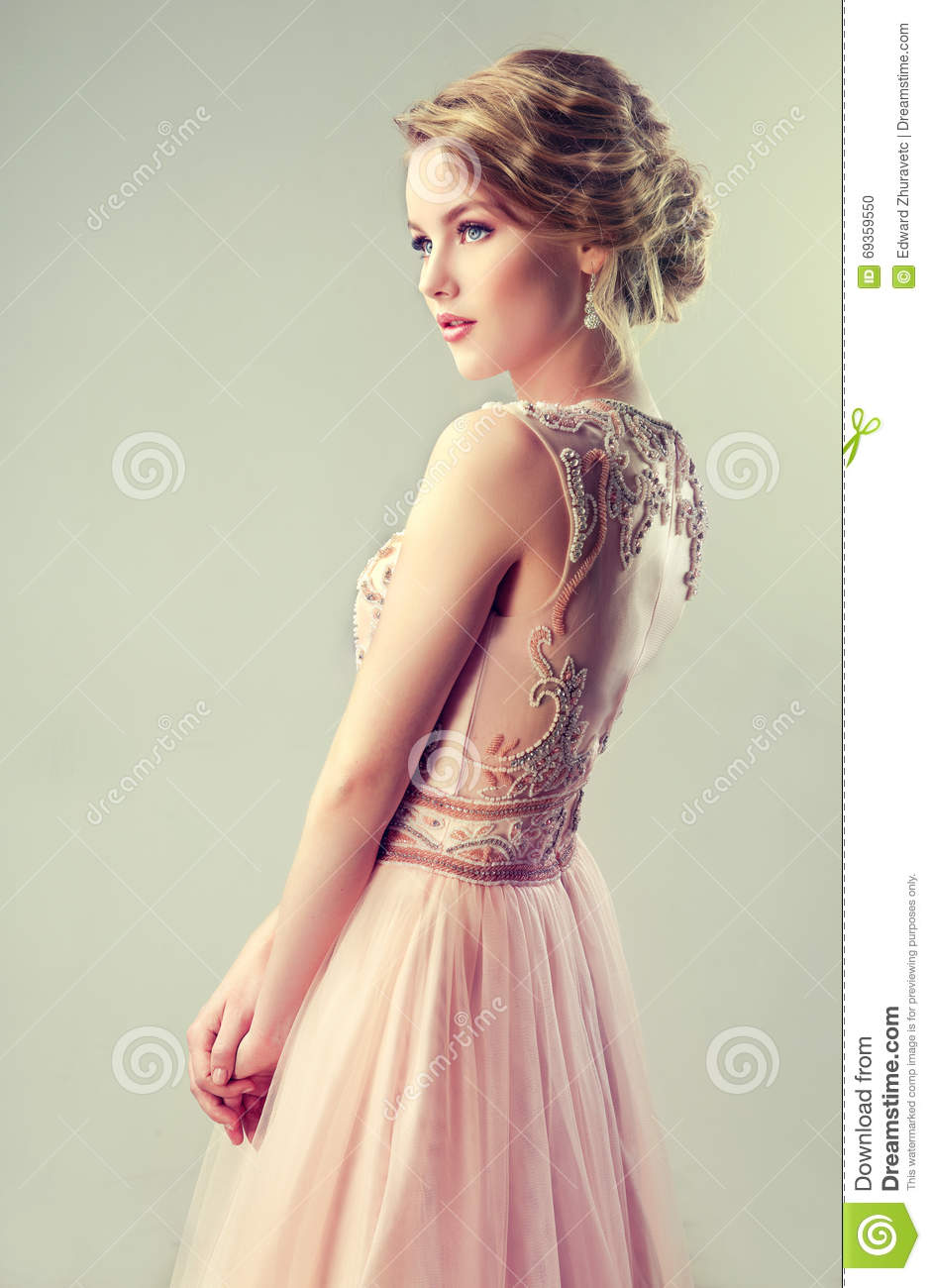 Beautiful Girl Light Brown Hair With An Elegant Hairstyle Stock