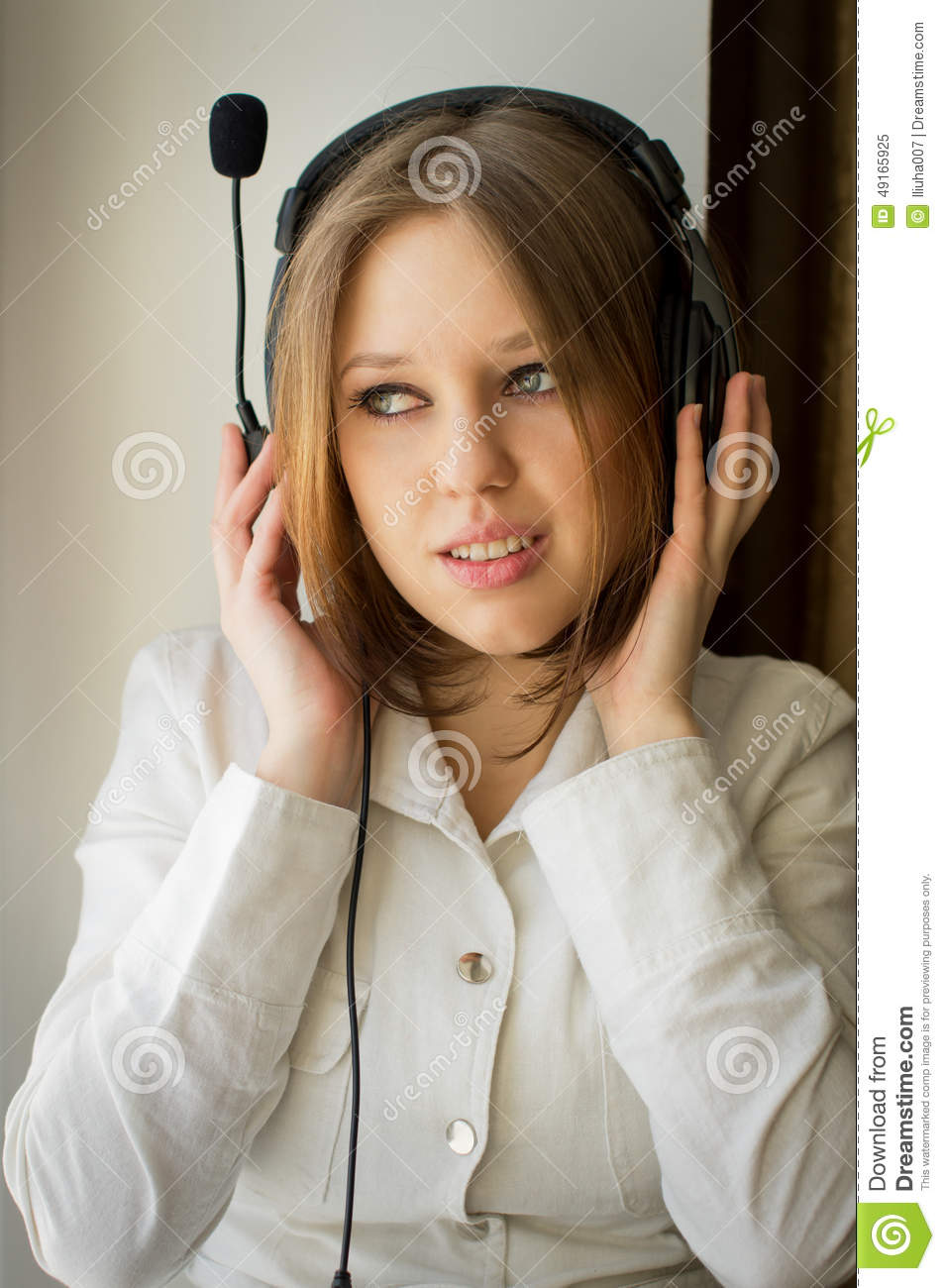 Beautiful girl listen music near the window stock photo for Beautiful house music
