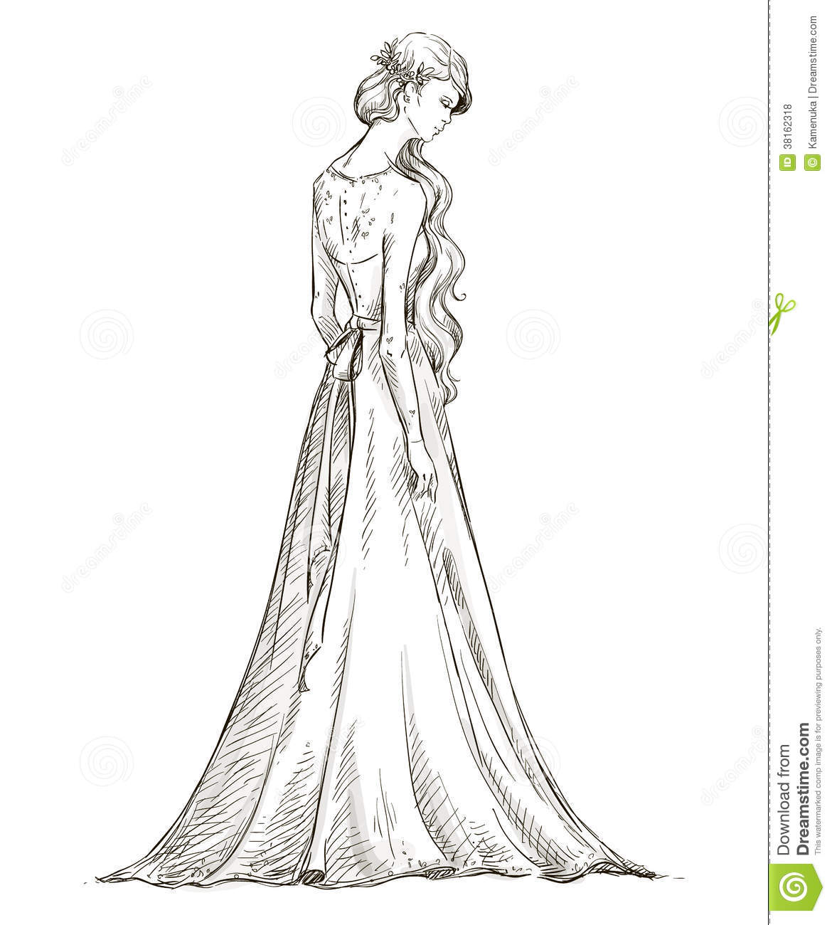 Beautiful Girl With Long Hair Bride Bridal Dress Royalty - Fashion Dress Sketches Black And White