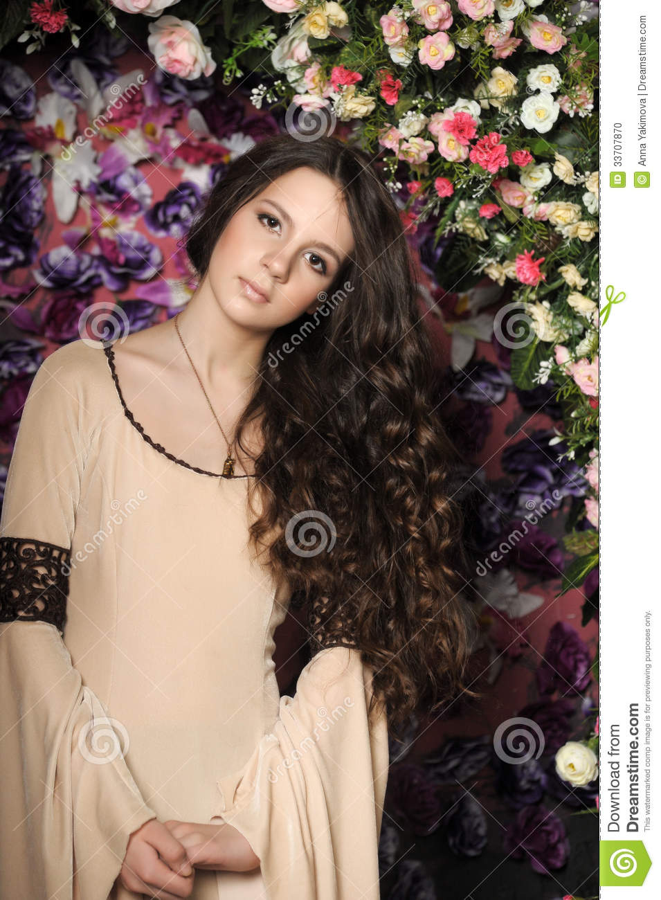 Beautiful Girl With Long Hair With Curls Stock Photo - Image: 33707870