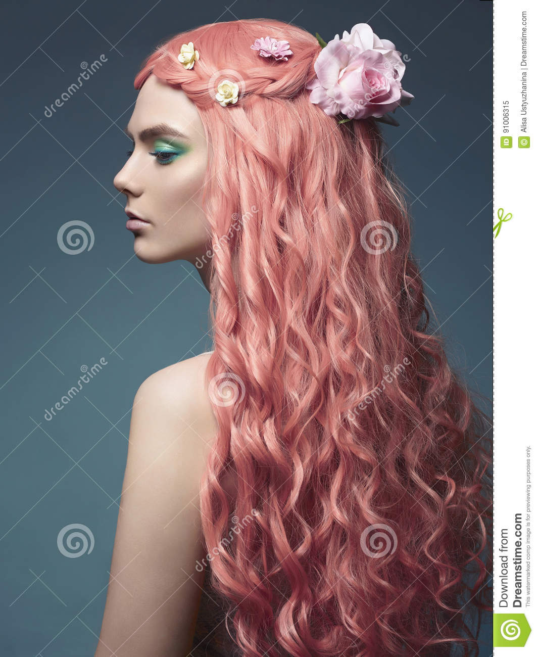 Beautiful girl with long pink hair and flowers stock image image beautiful girl with long pink hair and flowers izmirmasajfo Gallery