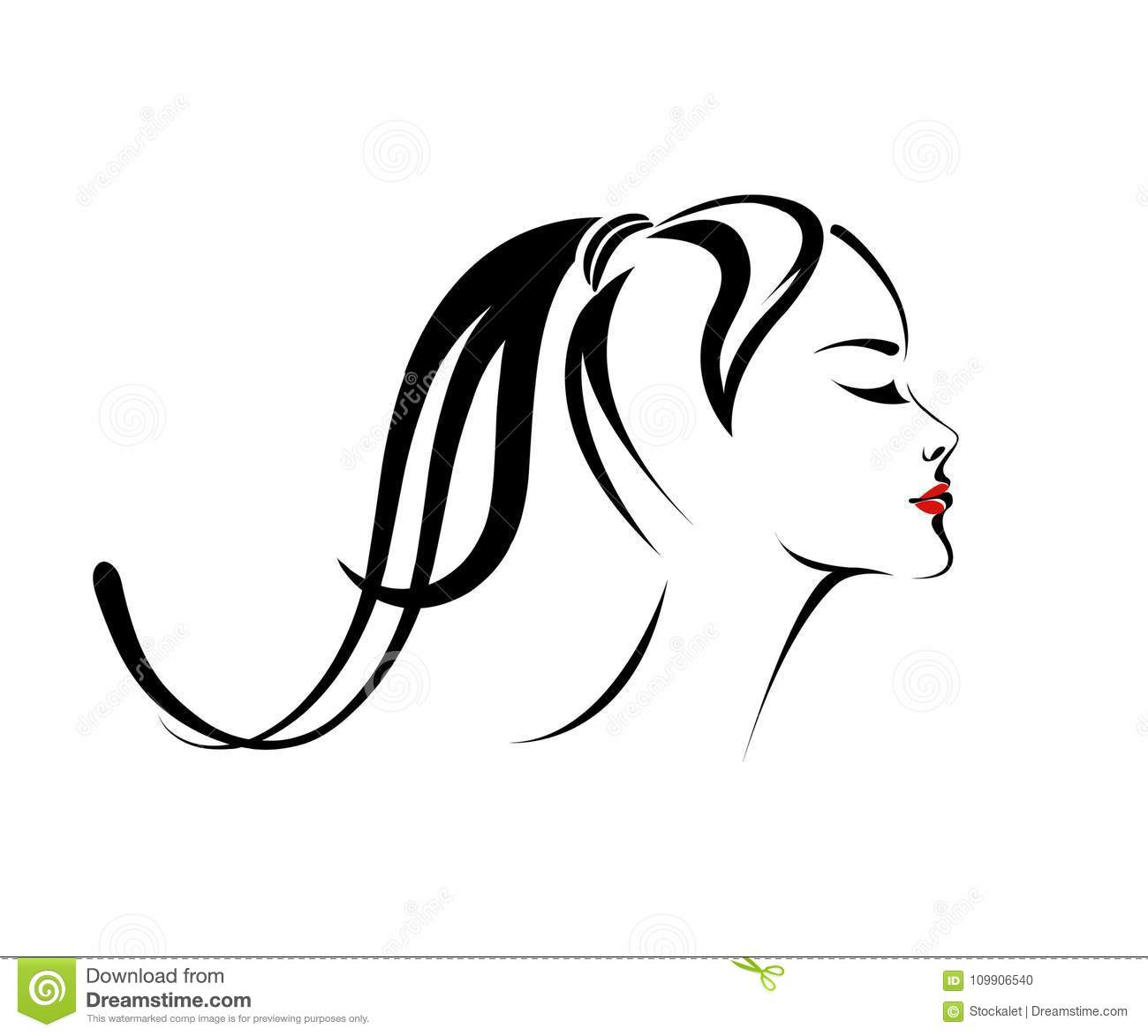 Vector Hairstyles: Beautiful Girl With Long Ponytail And Nice Makeup. Vector