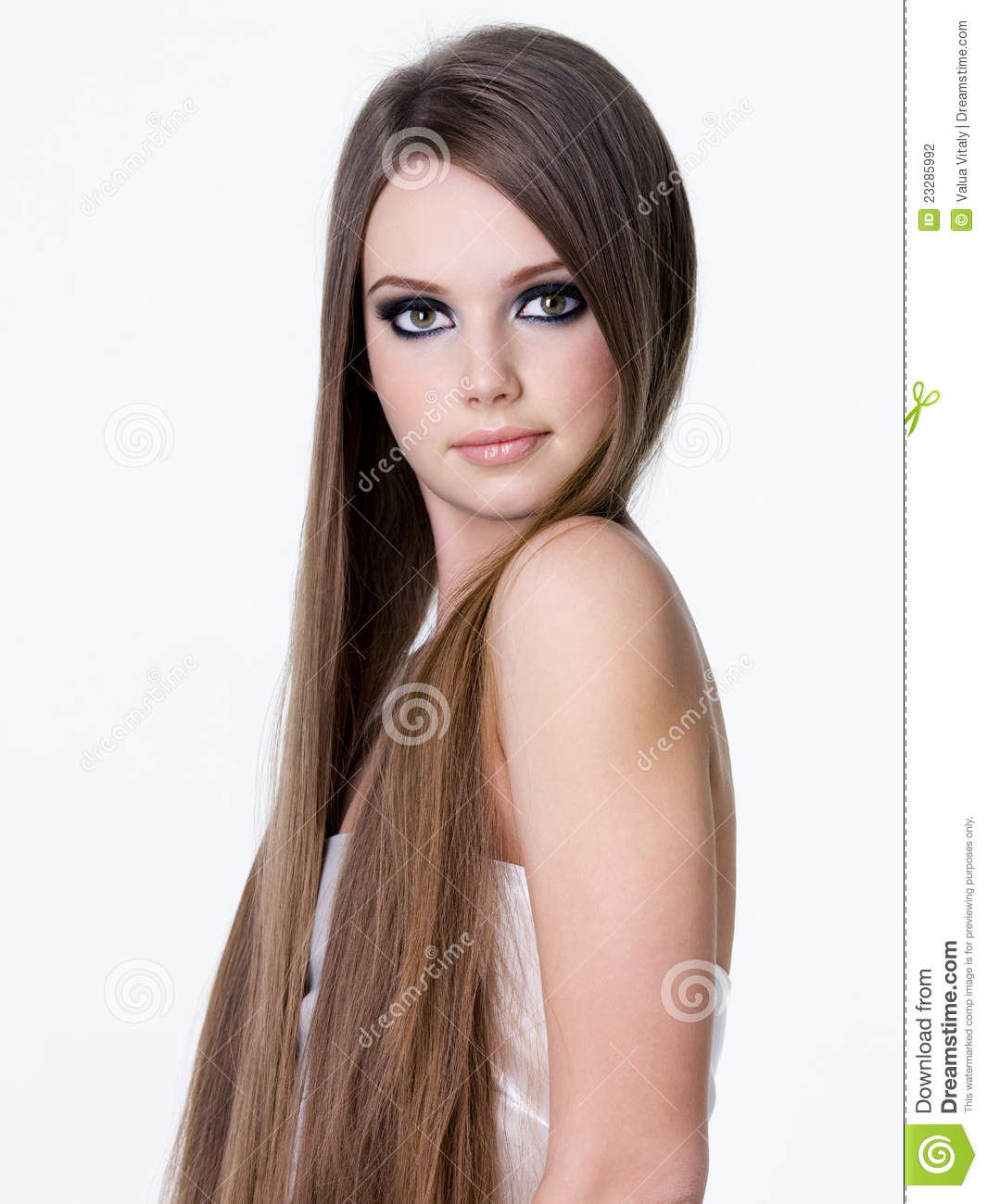 Beautiful Girl With Long Straight Hair Stock Photo - Image of young, studio: 23285992