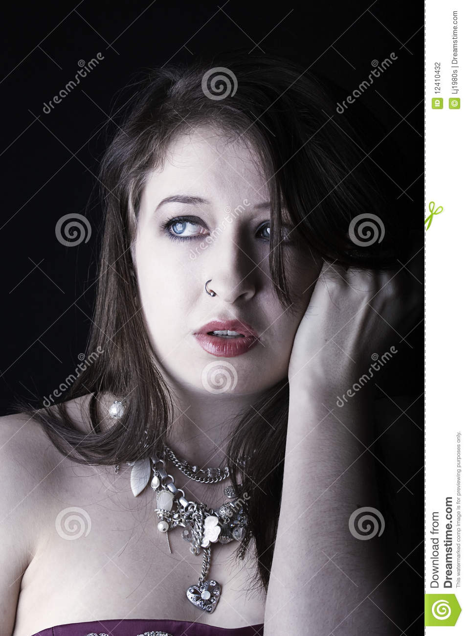 Pic Of Beautiful Shining Porcellain Kitchen Floors Tiles: Beautiful Girl Looks Nervous Stock Photo
