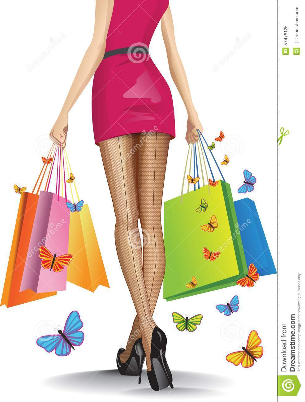 Beautiful girl with a lots of shopping bags